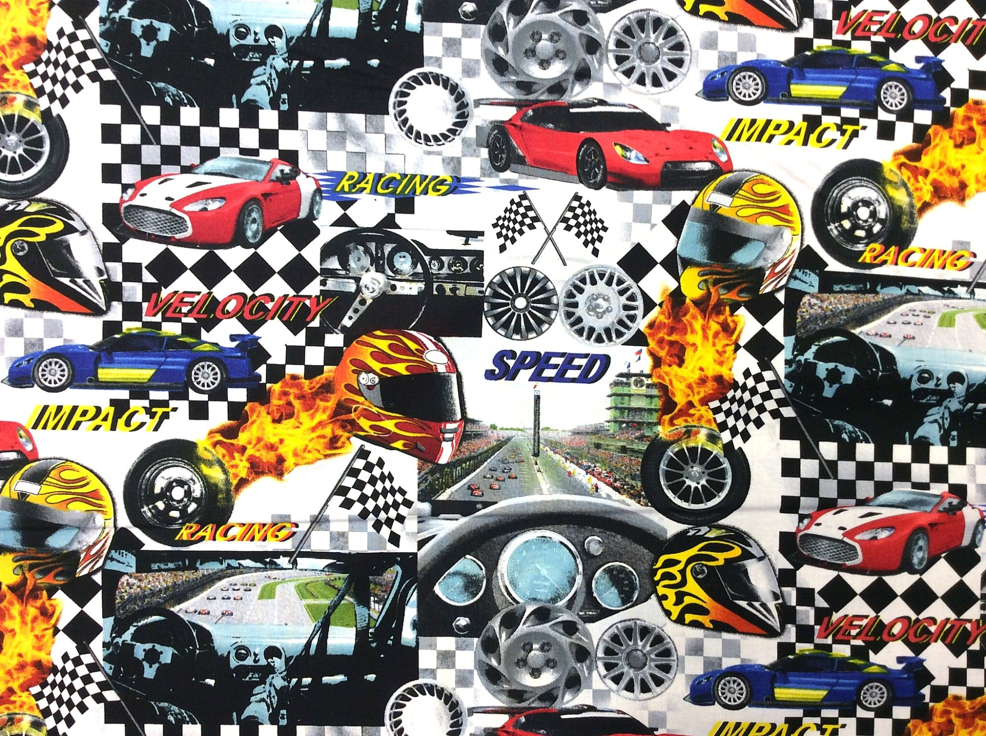 Race Car Speedway Retro Stock Car Formula Racing Cotton Quilt Fabric BE32