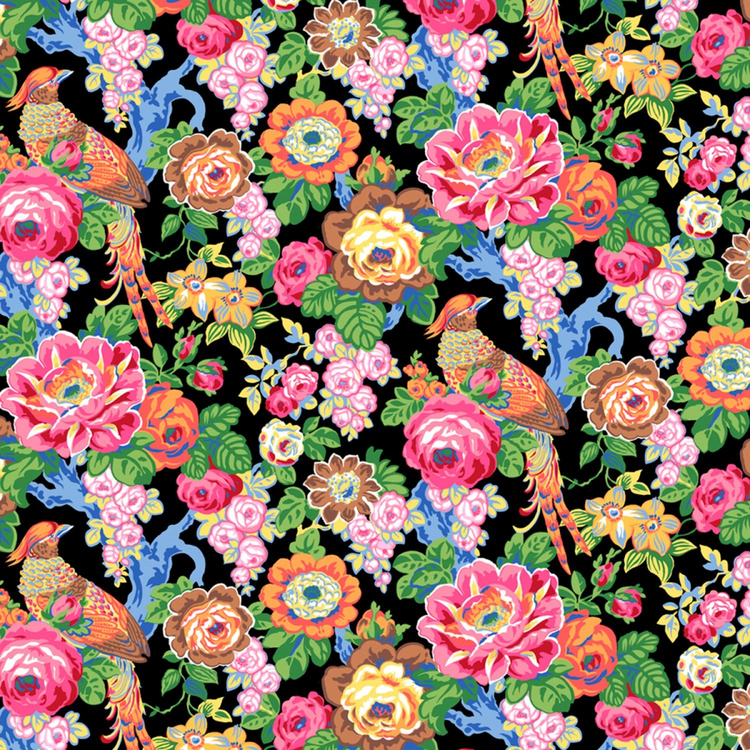 COMING SOON! Floral Peony Songbird Partridge Retro Mix  Cotton Quilt Fabric