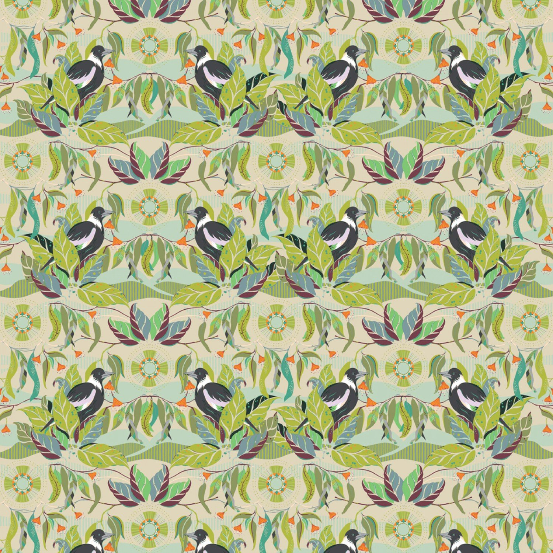 COMING SOON! Australian Horizons Magpie Song Bird Cotton Quilt Fabric