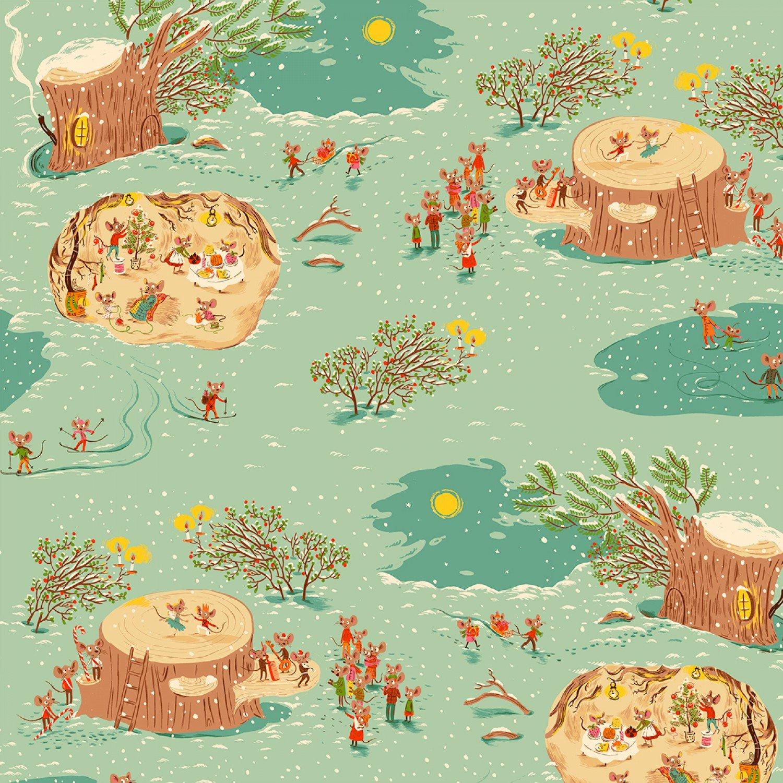 Heather Ross Sugar Plum Mice Village Cotton Quilt Fabric FT160