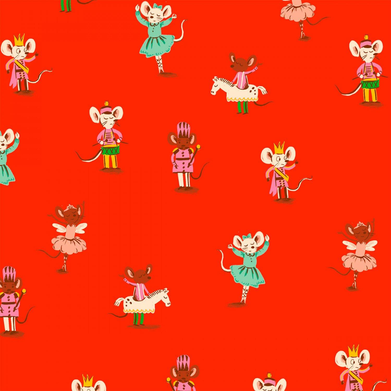 Heather Ross Sugar Plum Nutcracker Mouse Cotton Quilt Fabric FT159
