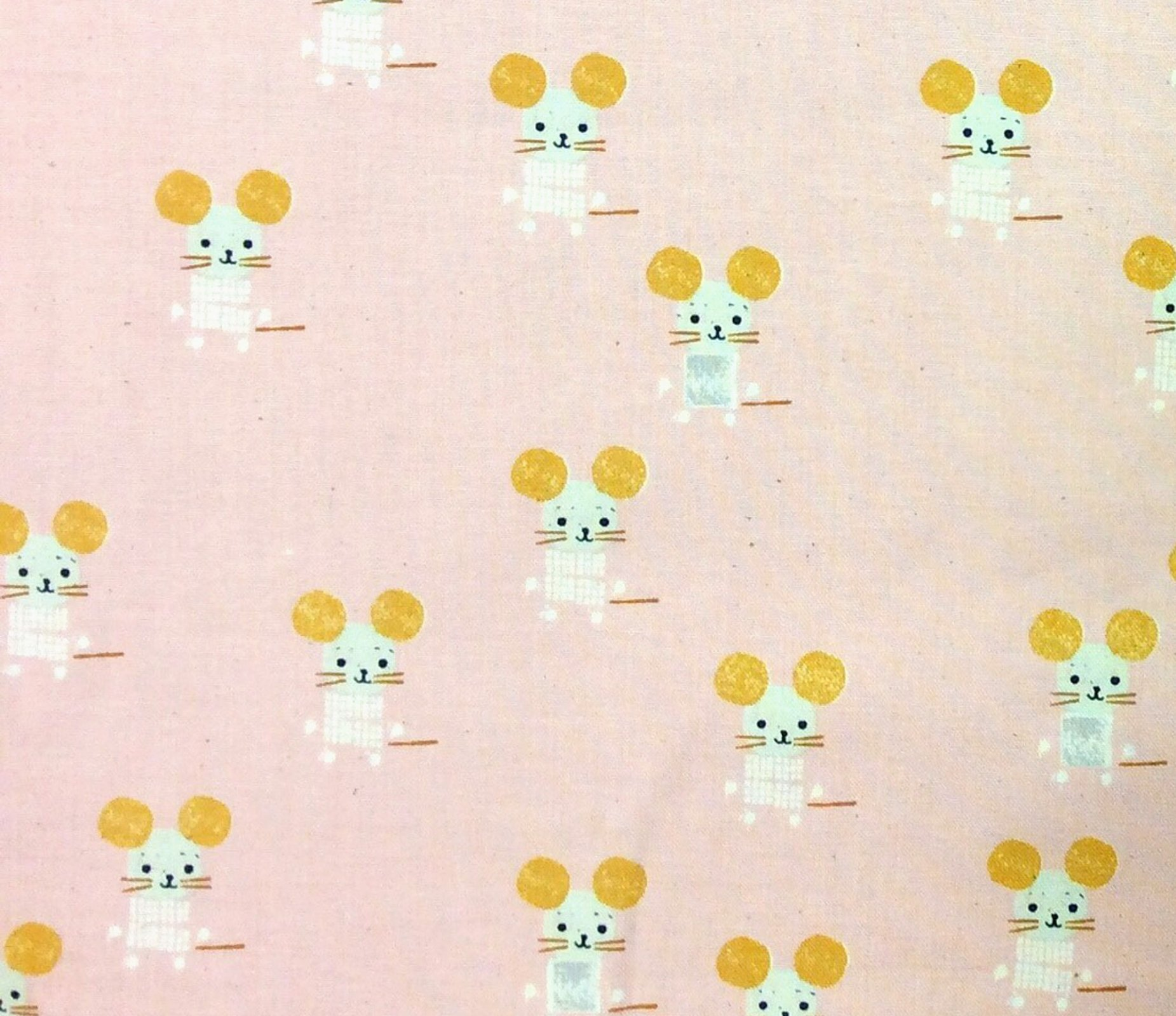 Cotton + Steel Little Friends Pink Mouse Mice Alexia Abegg Cotton Quilt Fabric CTN94