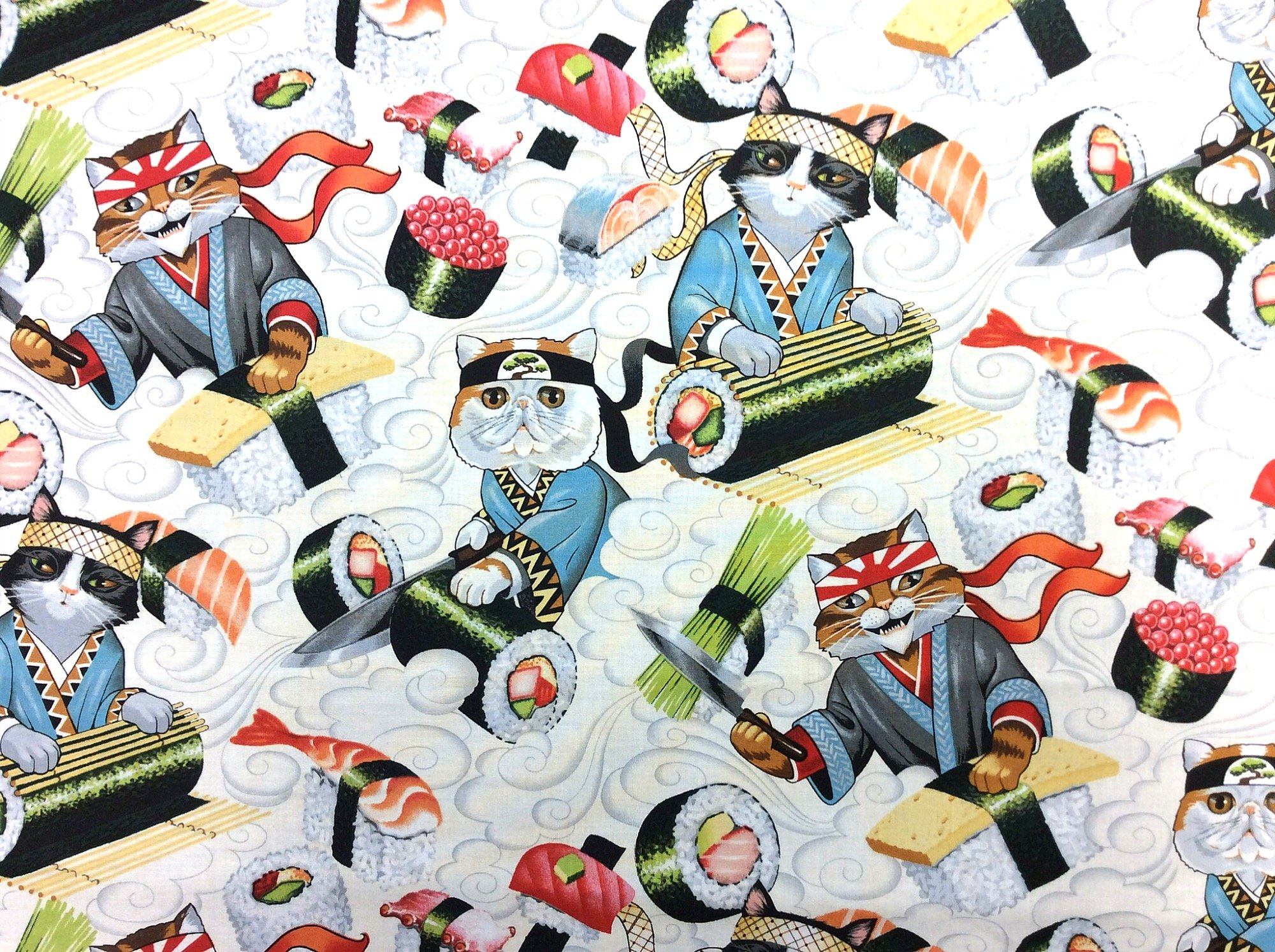 Asian Rockin' Rolls Japanese Style Kitty Cat Sushi Chef Kittens Cotton Quilt Fabric AH270
