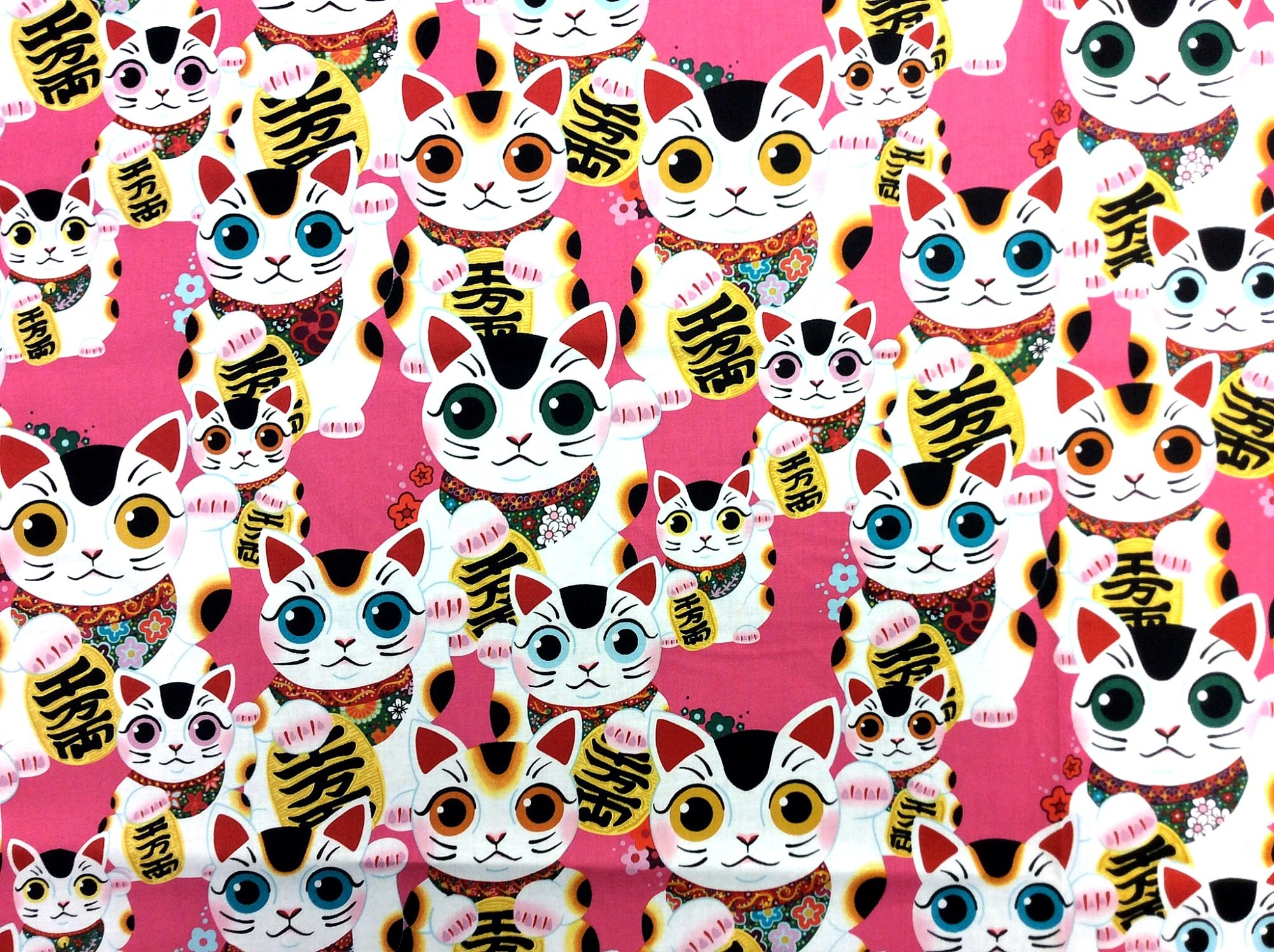 Asian Fuku Kitty Good Luck Cat Japanese Style Kitty Cat  Kittens Cotton Quilt Fabric AH271