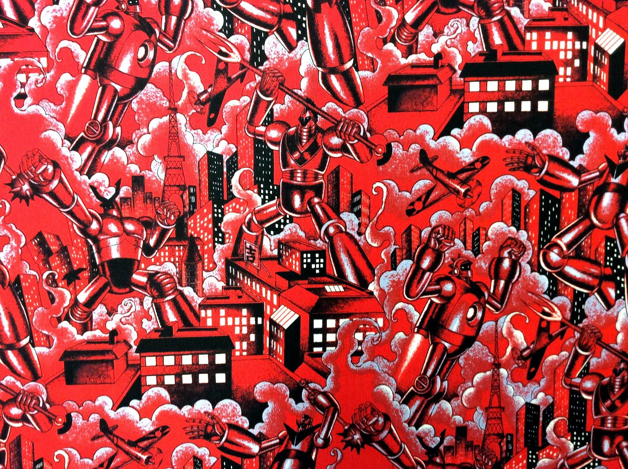 Japanese Asian Tin Toys Science Fiction Tokyo Robots Retro Cotton Quilt Fabric AH264