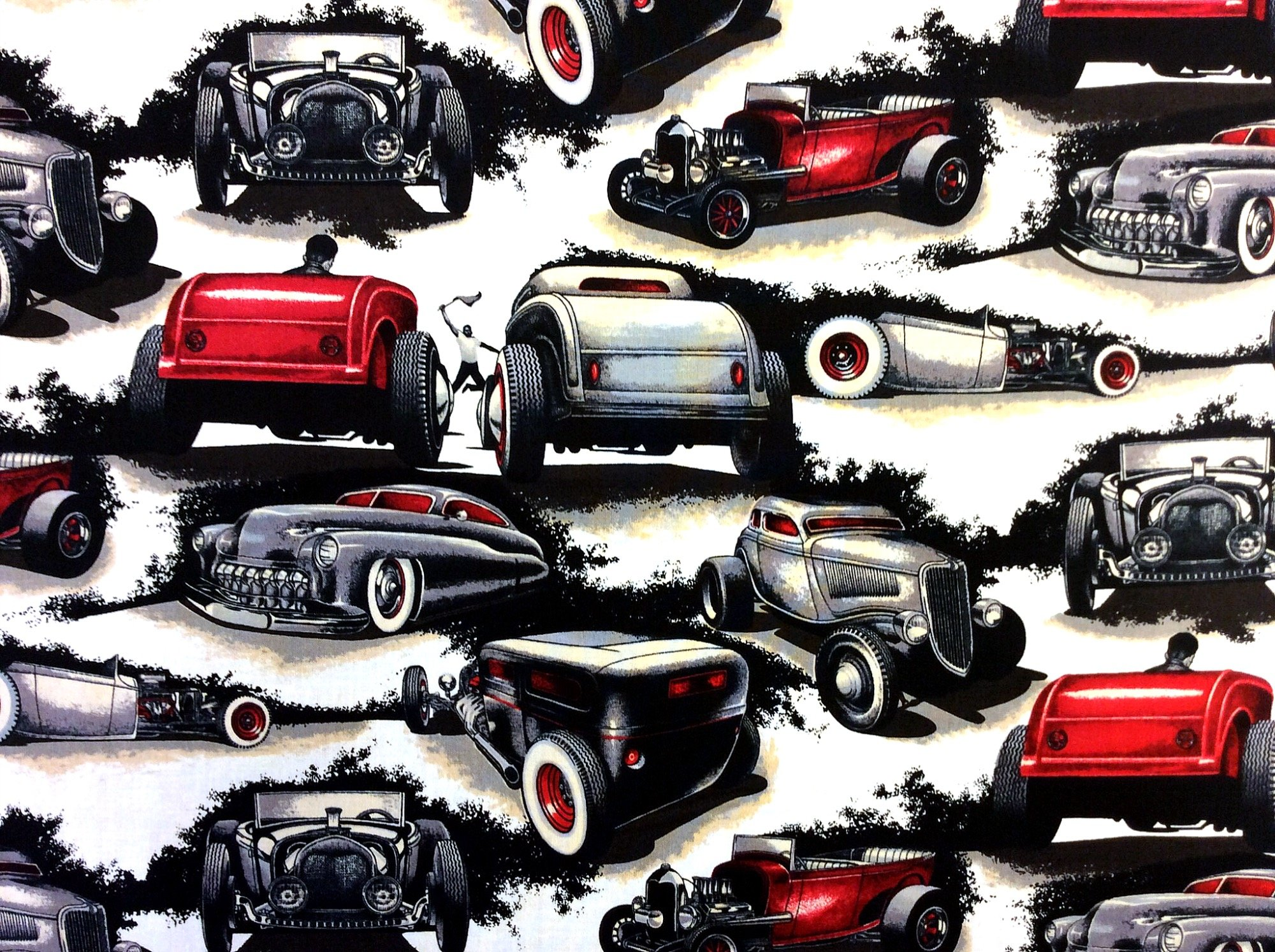 LAST PIECE! 30 X 44 Shadow Rods Hot Rod Street Race Cars Cotton Quilt Fabric PCAH265