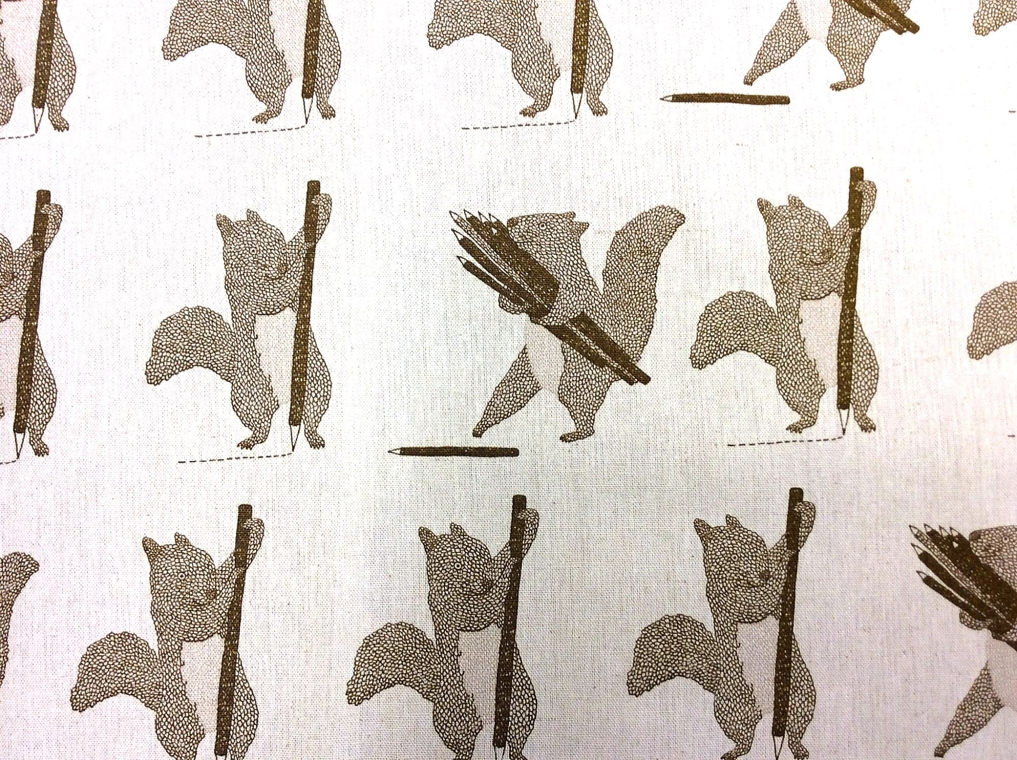 Japanese Asian Squirrel Sketch Cotton Canvas Fabric  QH32