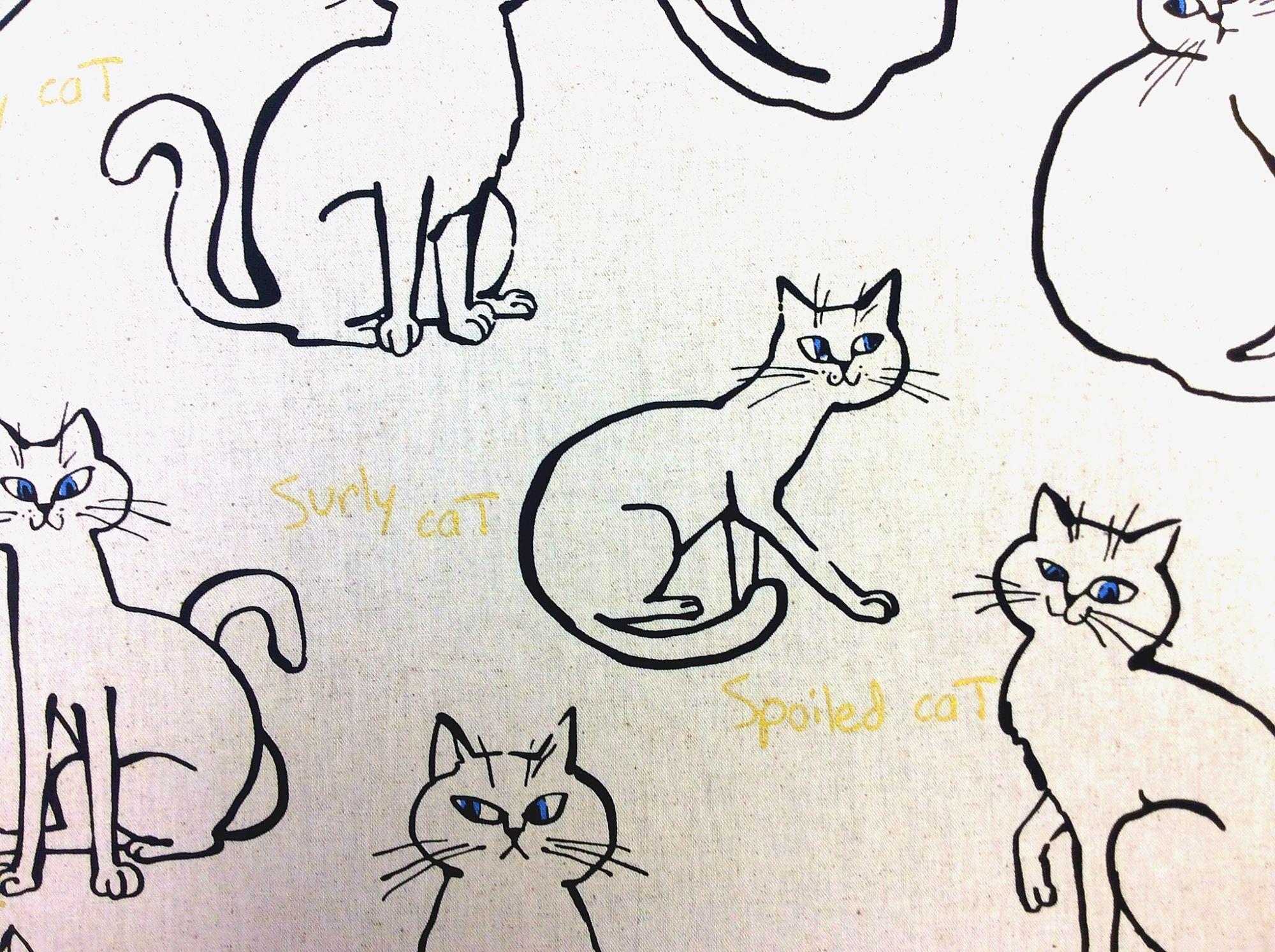 Japanese Asian Surly Cat Kitty Metallic Sketch Canvas Cotton Linen Fabric SK07