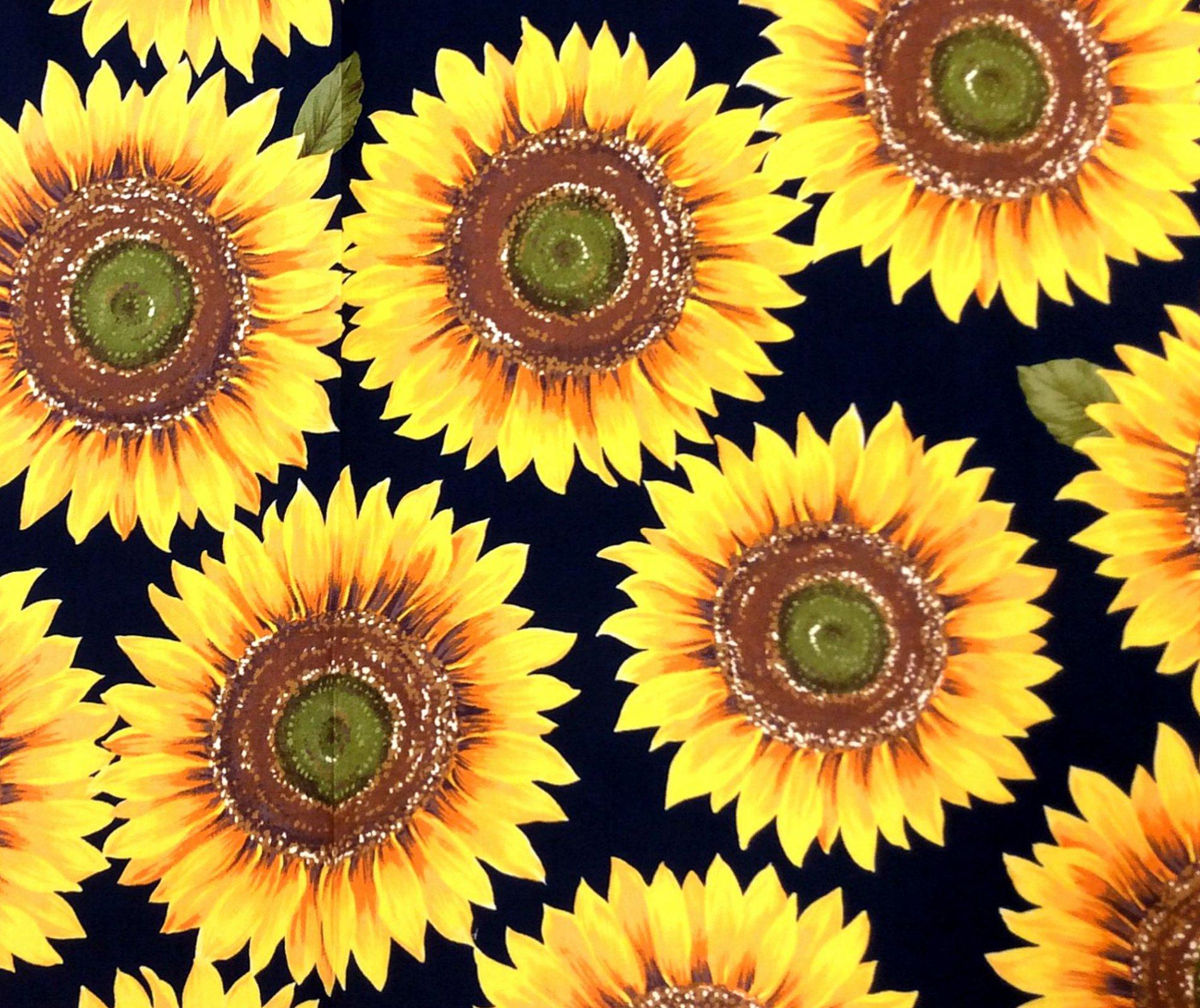 Japanese Asian Bold Sunflower Retro Canvas Cotton Fabric QH29