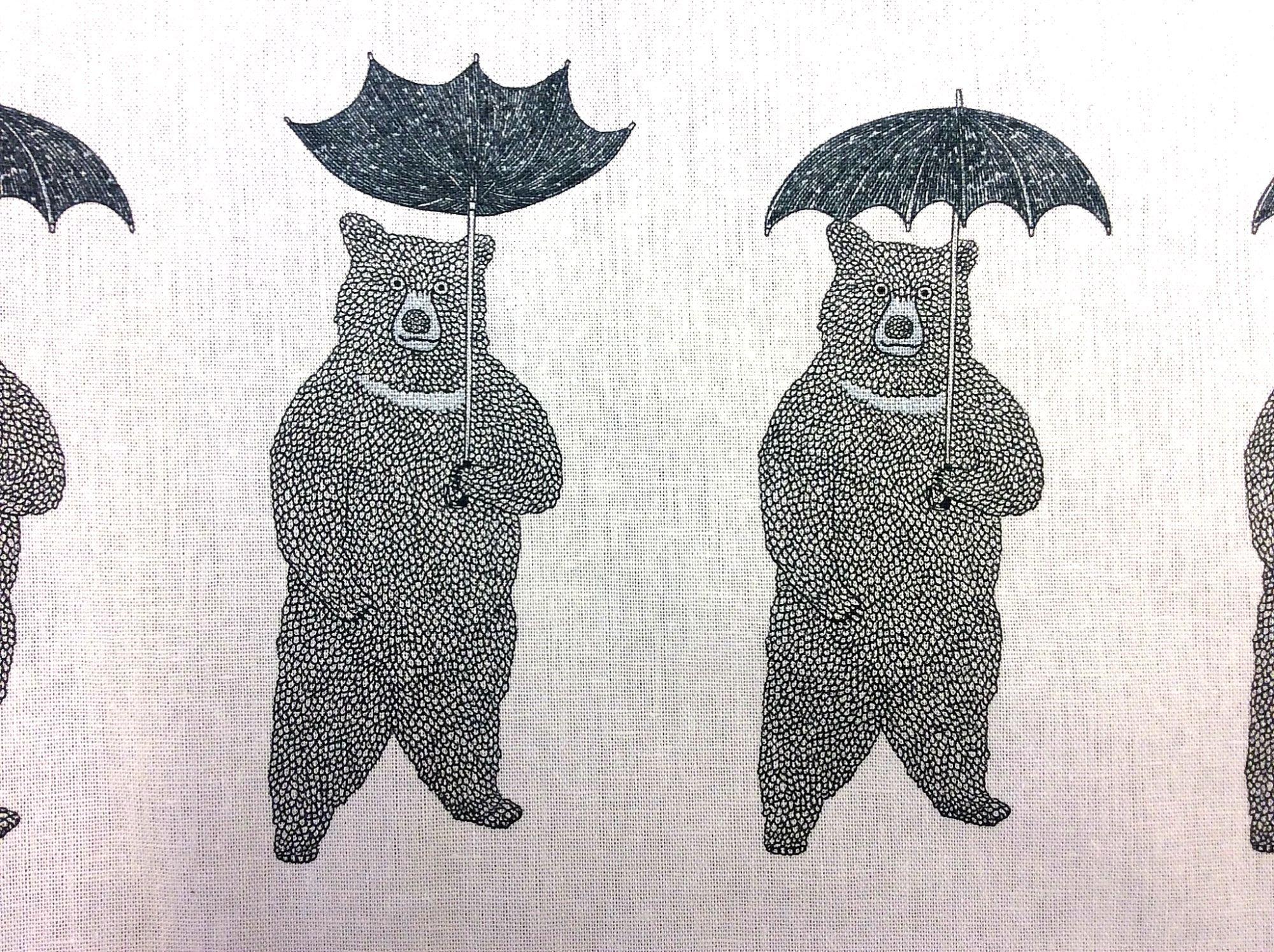 Japanese Asian Naoya Hata Bears Umbrella Canvas Cotton Fabric QH30