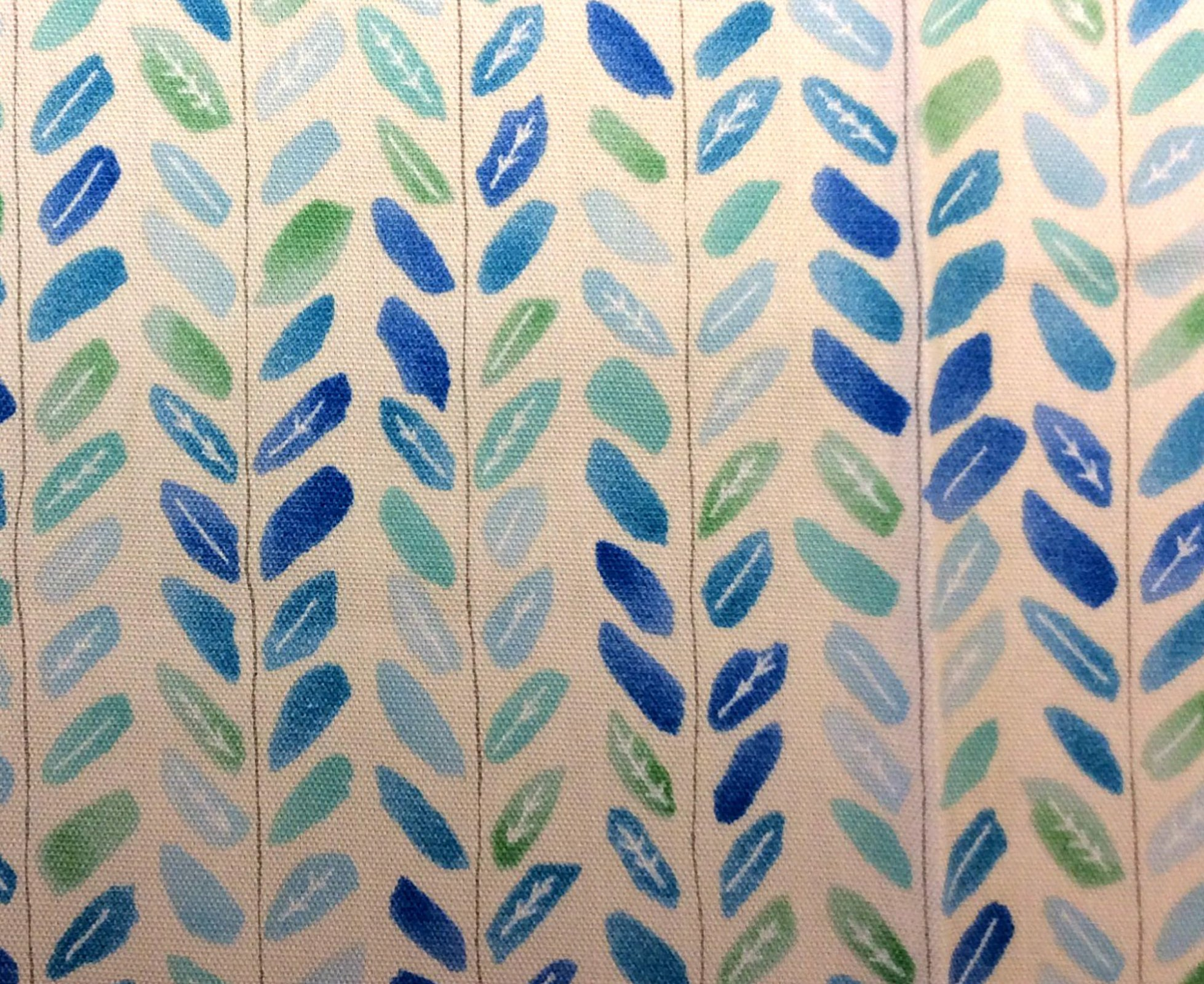 Japanese Asian Watercolor Leaves Little Leaf Shades of Blue Oxford Cloth Cotton Fabric QH34