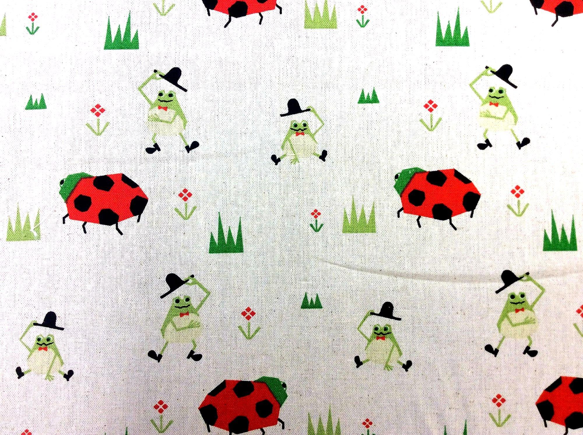 Japanese Asian Koizumi Retro Ladybug Frog Fun Canvas Cotton Linen Fabric QH28