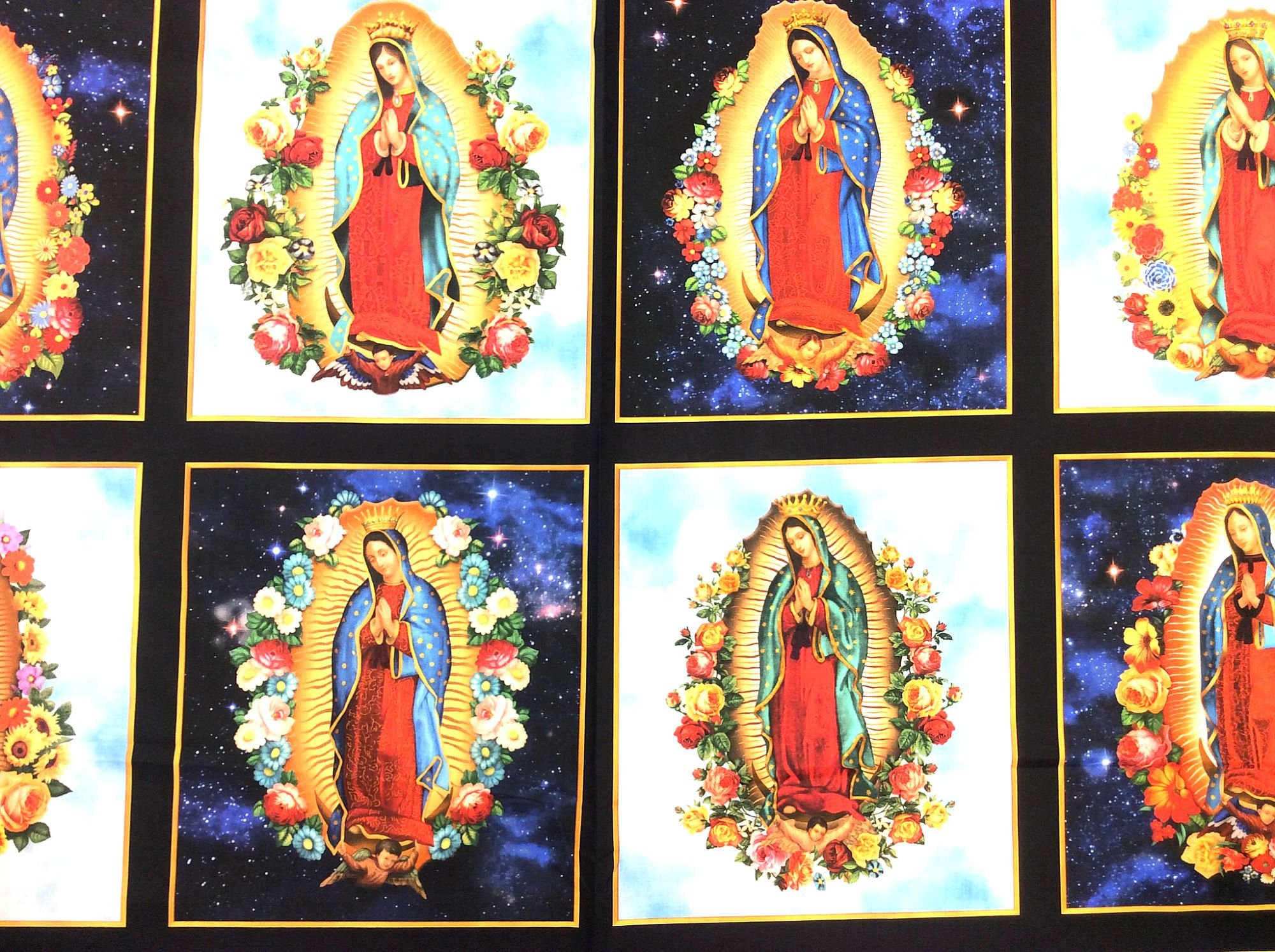 Our Lady of Guadalupe Fabric Panel Eight Images Galaxy Starry Night Sky Blue Heaven  Clouds RK181
