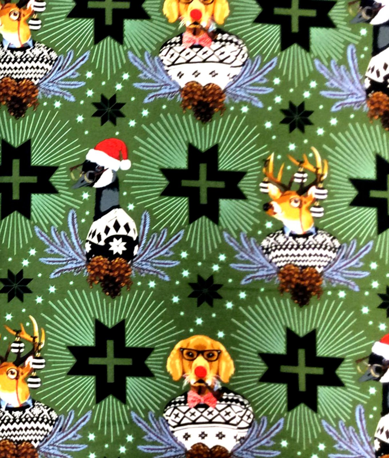 Dogs in Christmas Sweaters Tula Pink Anthropomorphic Puppy Dogs Cotton Quilt Fabric FT147