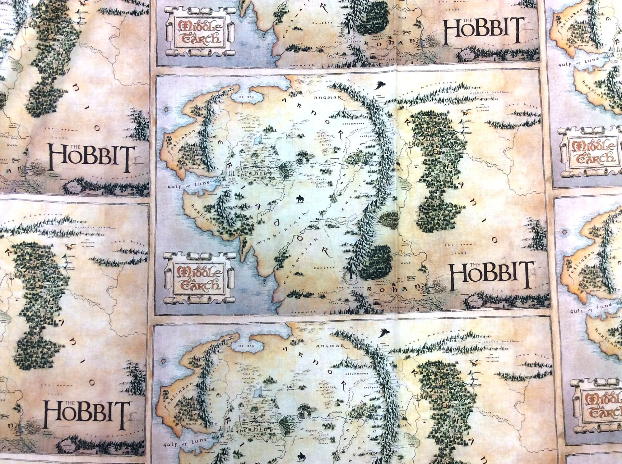 Lord of the Rings The Hobbit Middle Earth Territory Map Digital Print Cotton Quilt Fabric FT149