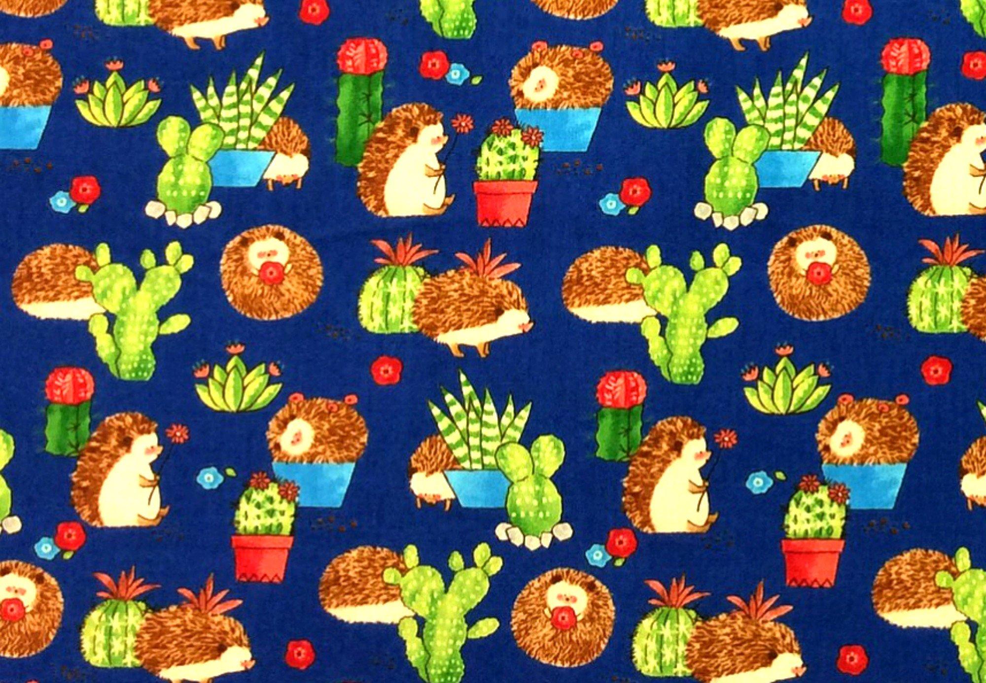 Japanese Asian Retro Cute Hedgehog Cactus Succulent Cotton Quilt Fabric QH38