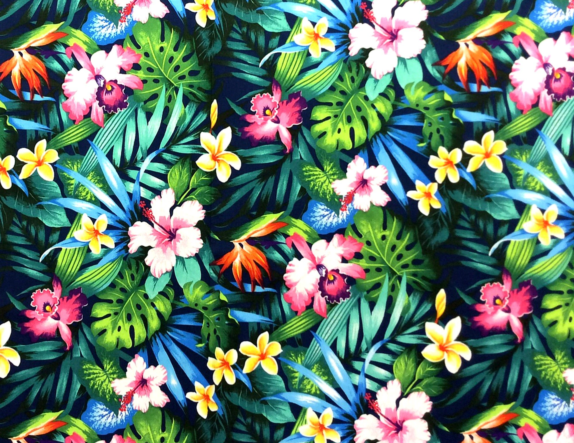 Hawaiian Tropical Floral Orchid Bird of Paradise Tiki Luau Cotton Quilt Fabric TP039