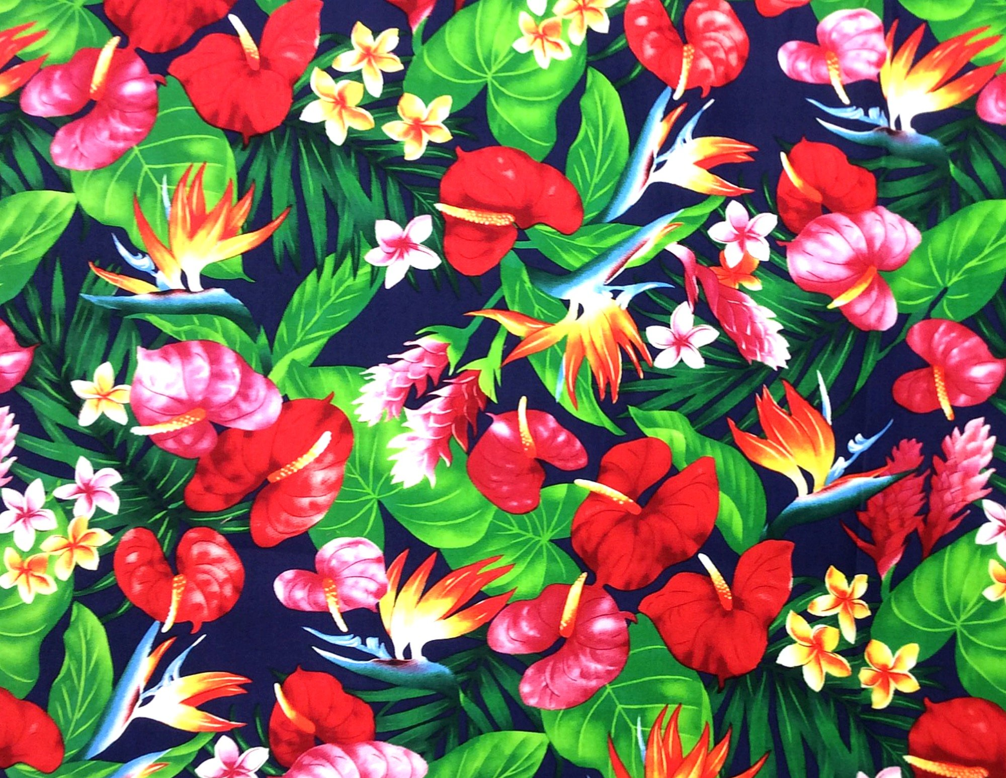 Hawaiian Tropical Floral Orchid Bird of Paradise Tiki Luau Cotton Quilt Fabric TP037