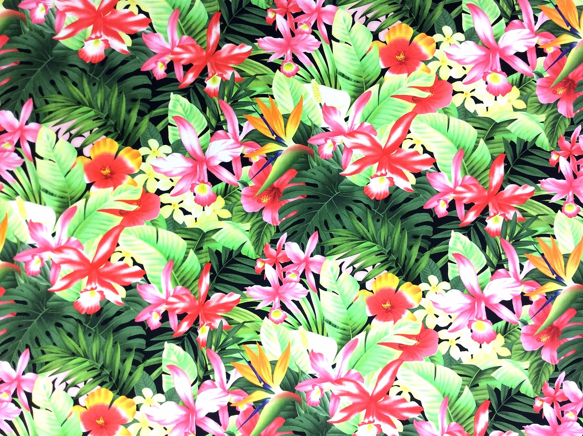 Hawaiian Tropical Floral Orchid Bird of Paradise Tiki Luau Cotton Quilt Fabric TP038