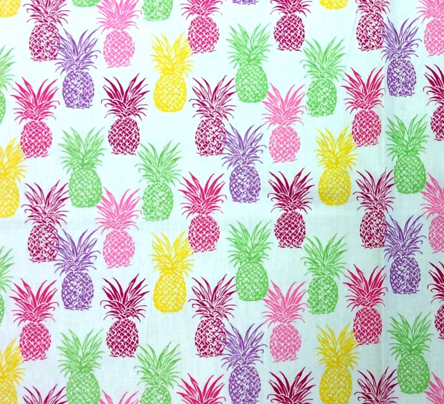 FAT QUARTER! Pineapple Rainbow Tropical Fruit Cotton Quilt Fabric RPFTP036