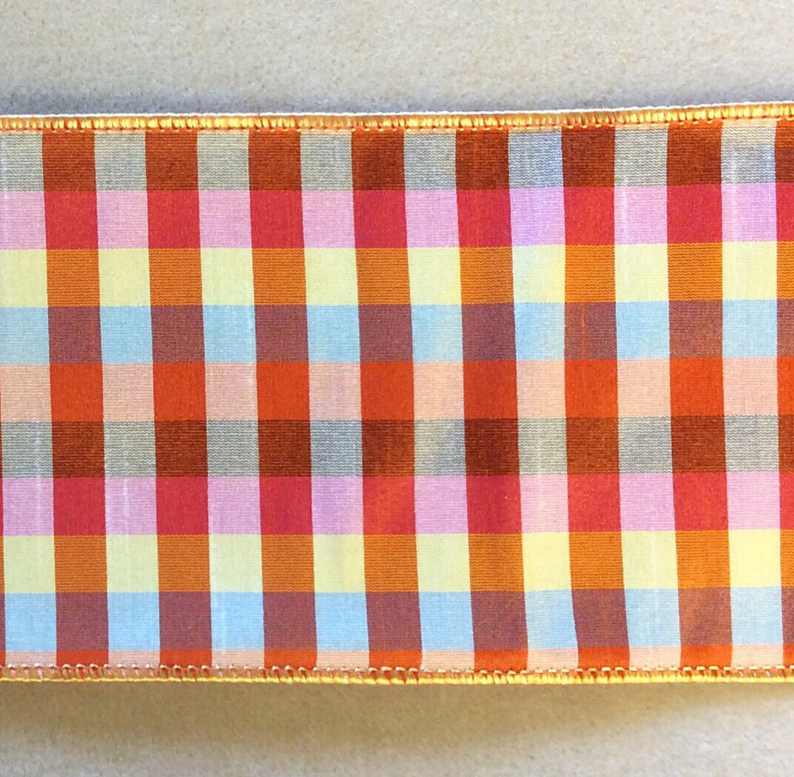 Gingham Wired Cotton Ribbon Trim 4 wide TRIM005