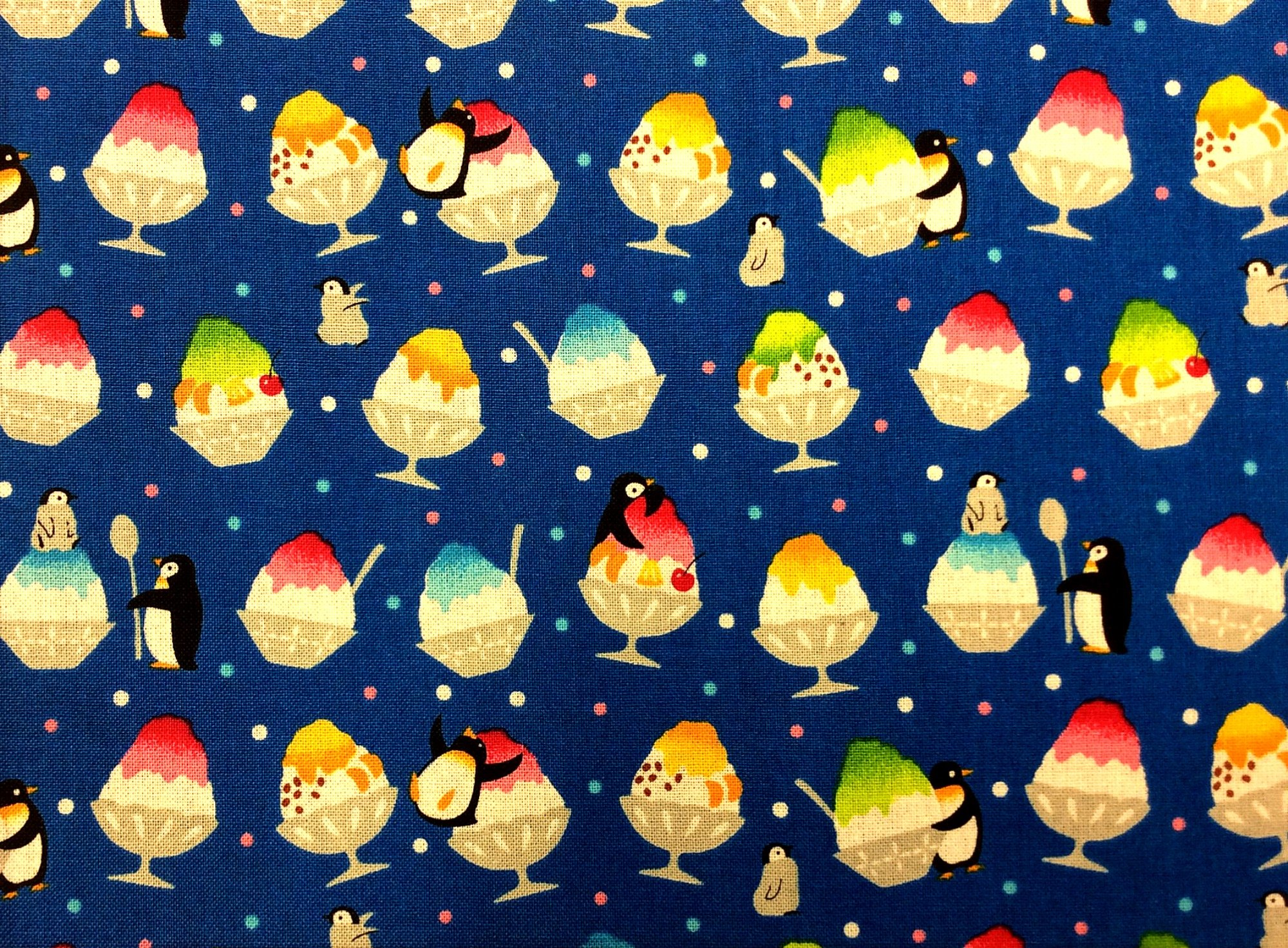 Japanese Asian Retro Penguins Birds Ice Cream Treats Silly Cute Cotton Quilt Fabric QH37