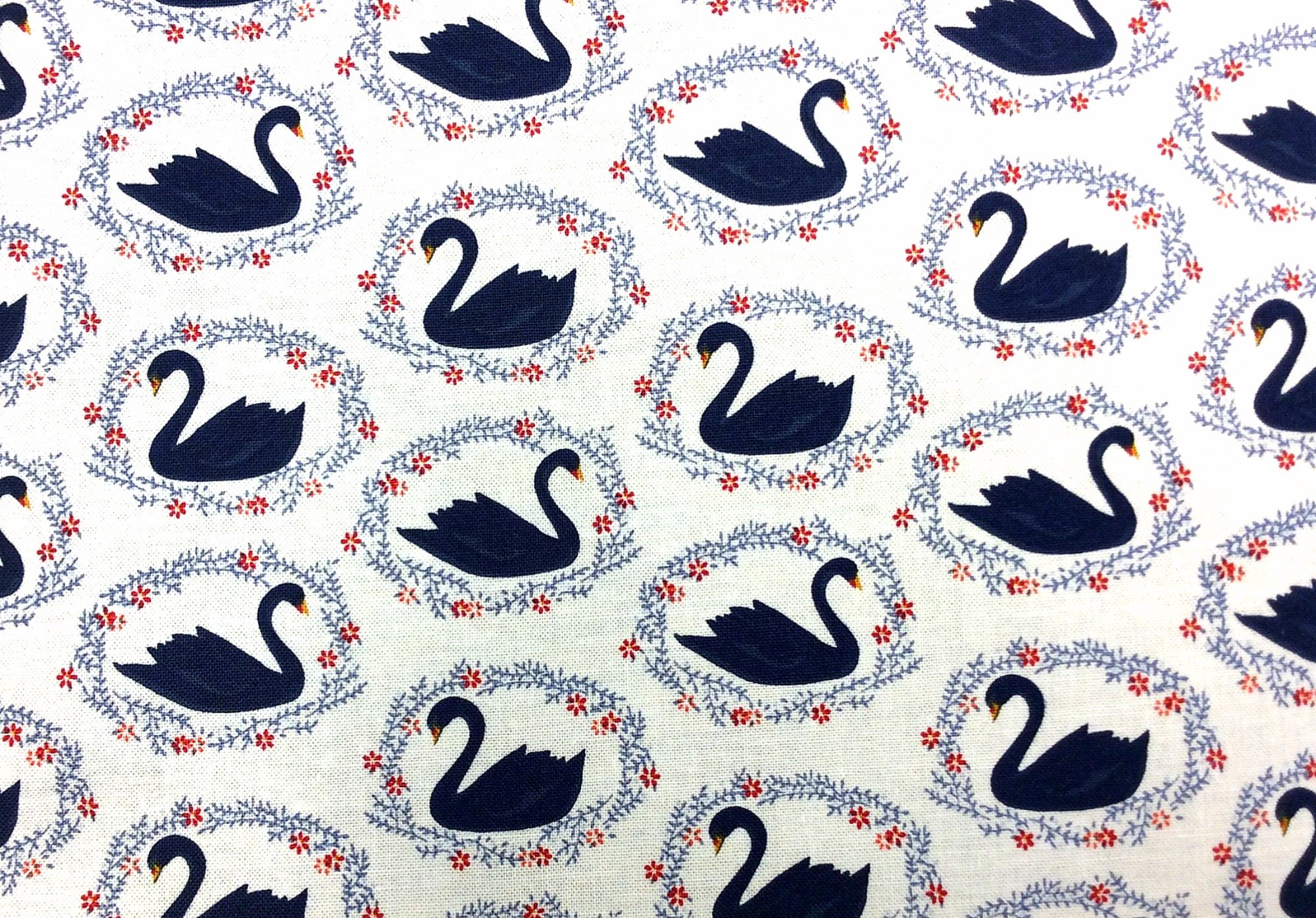 Black Swan Retro Water Birds Ballet Illustrated Swans Cotton Quilt Fabric FT153
