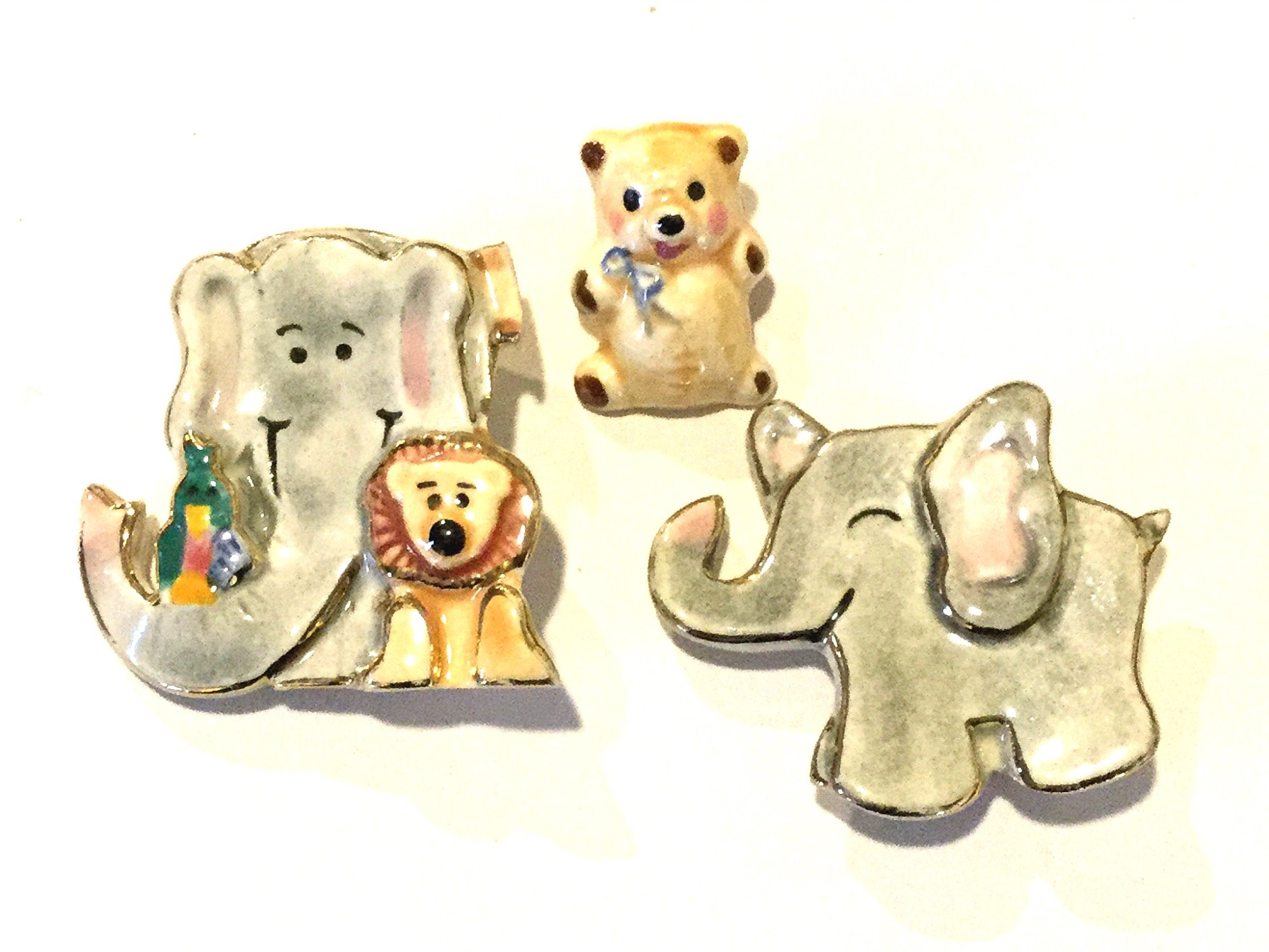 Set of THREE Vintage Pins Brooches Glazed Porcelain Elephants and Bears