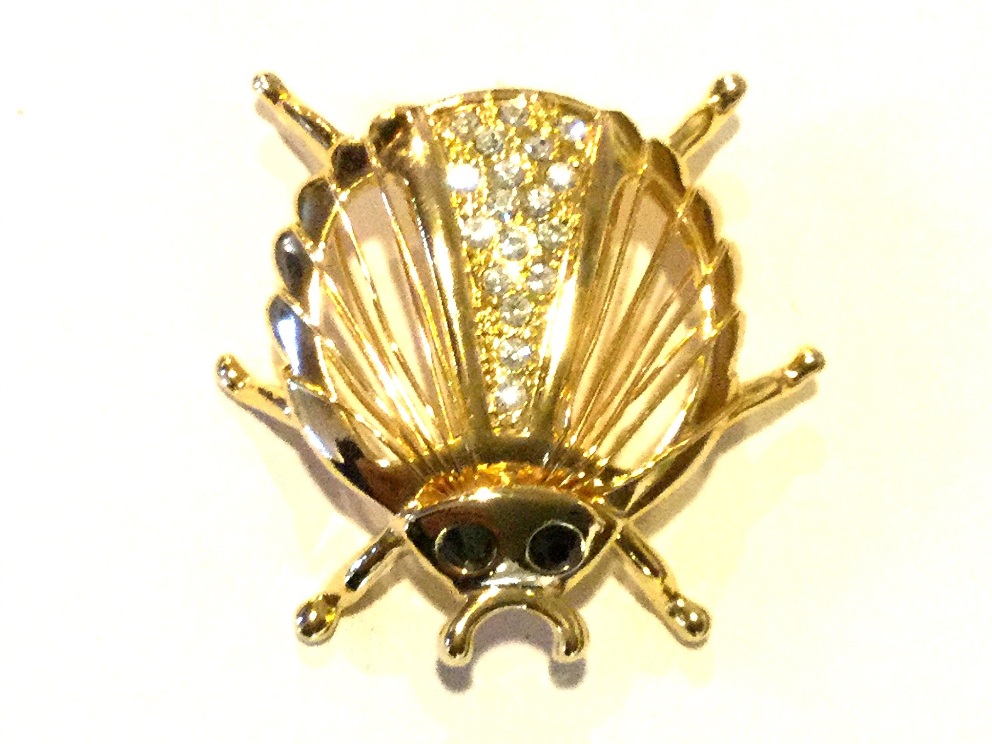 Costume Jewelry Pin Rhinestone Beetle