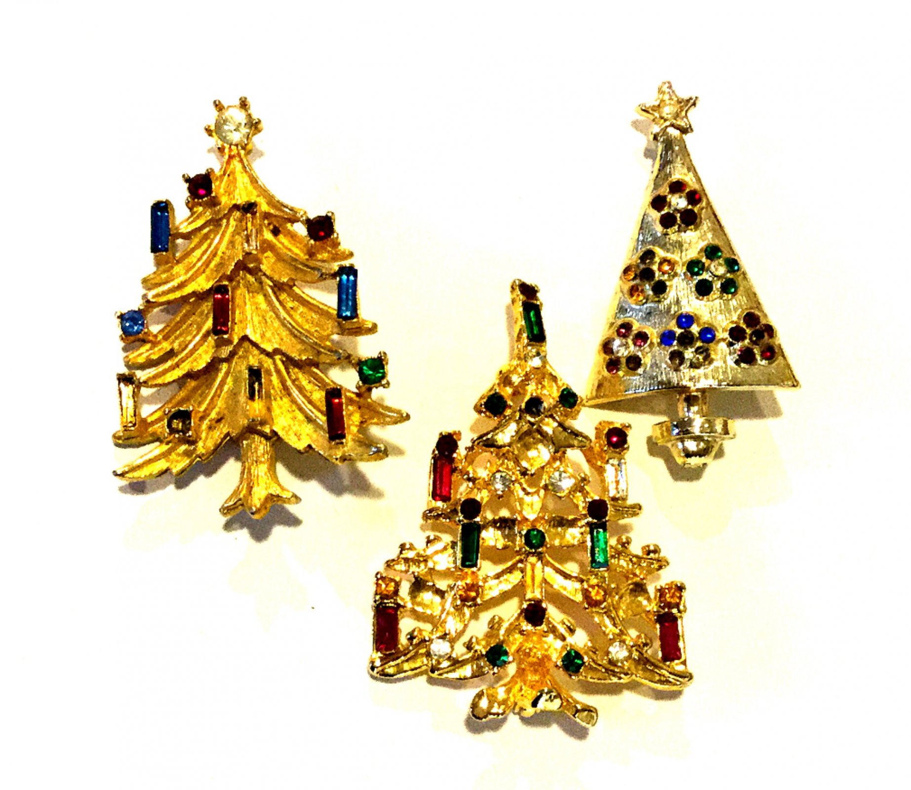 Christmas Trees THREE Costume Jewelry Pins
