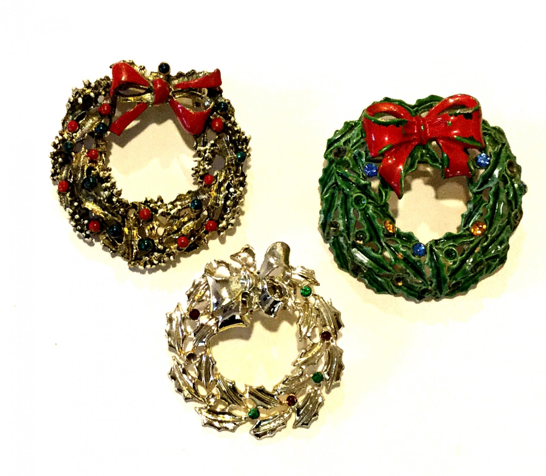Christmas Wreaths THREE Costume Jewelry Pins