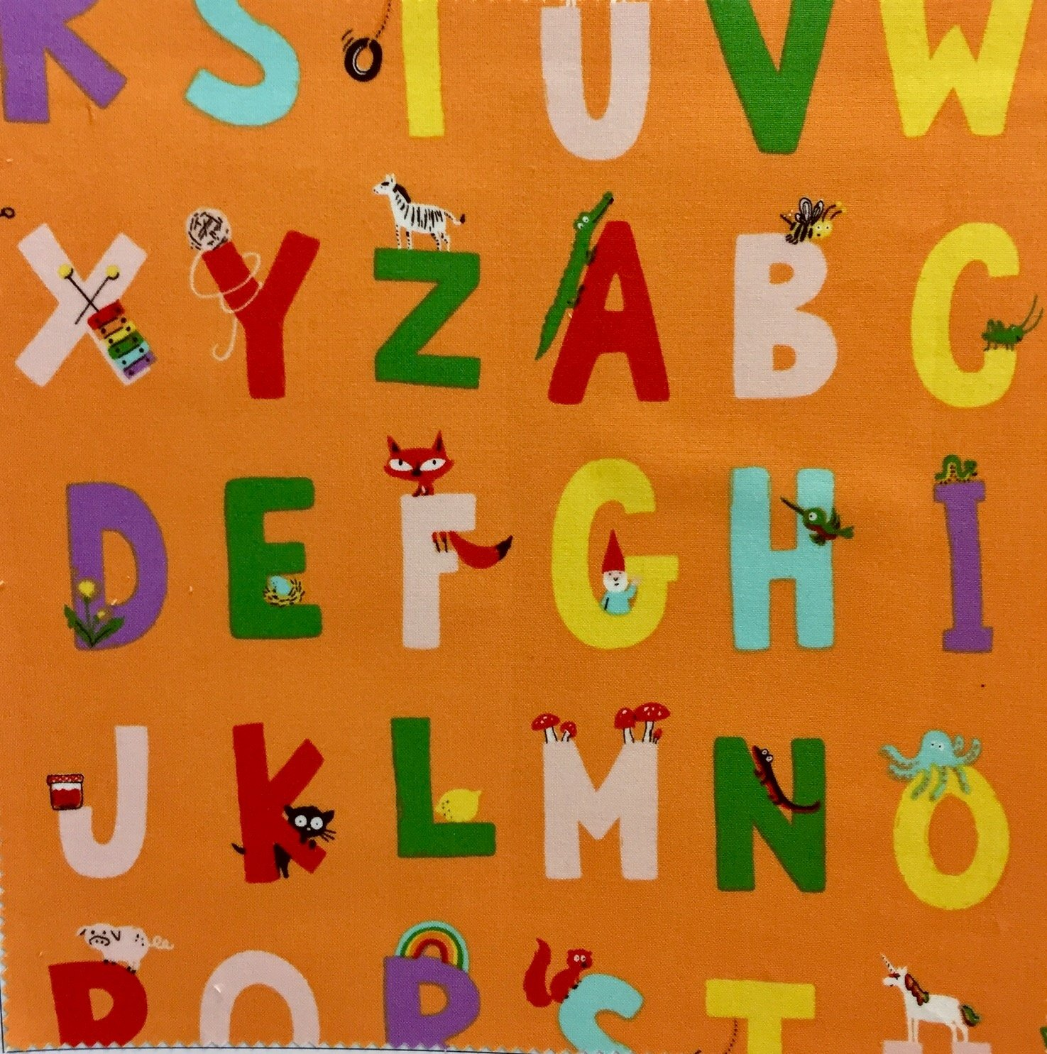 Heather Ross Kinder Retro ABC Alphabet Children at Play School Cotton Quilt Fabric WI120