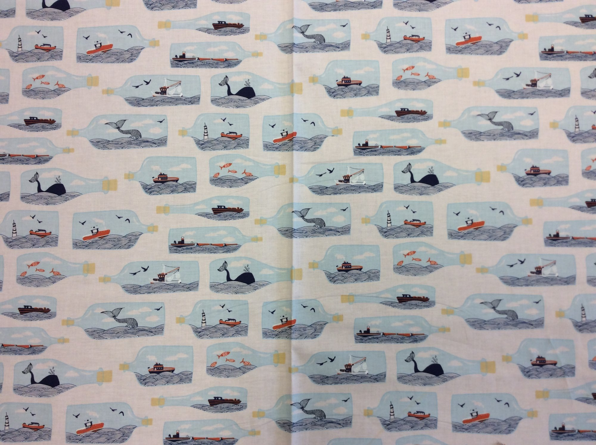 Sailor Ship in a Bottle Ocean Sea Retro Cotton Quilt Fabric FT146