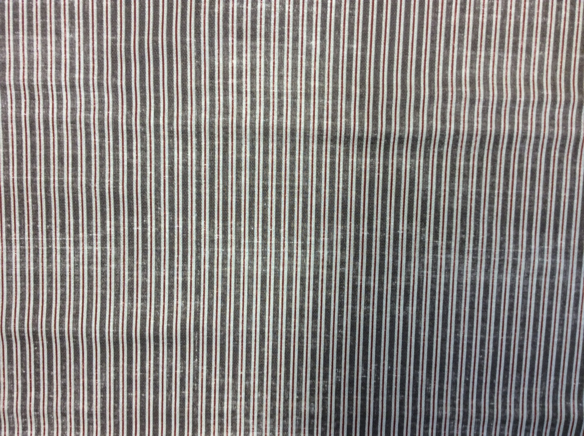 NM12 Gentlemens Menswear Distressed Brown and Burgundy Stripe Cotton Quilting Fabric