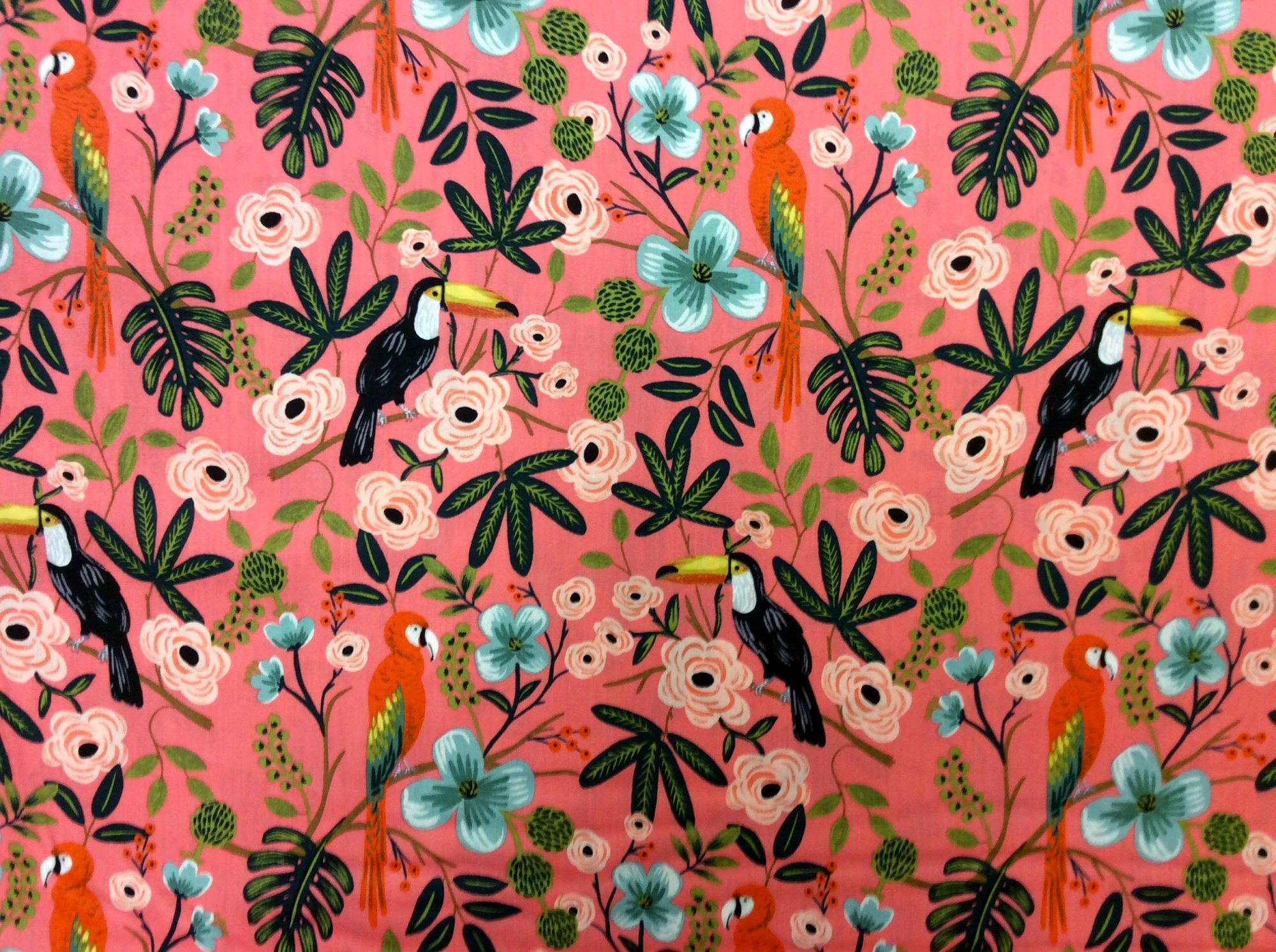 Cotton + Steel Rifle Paper Company Menagerie Paradise Garden Coral Cotton Rayon Lawn Fabric CTN88