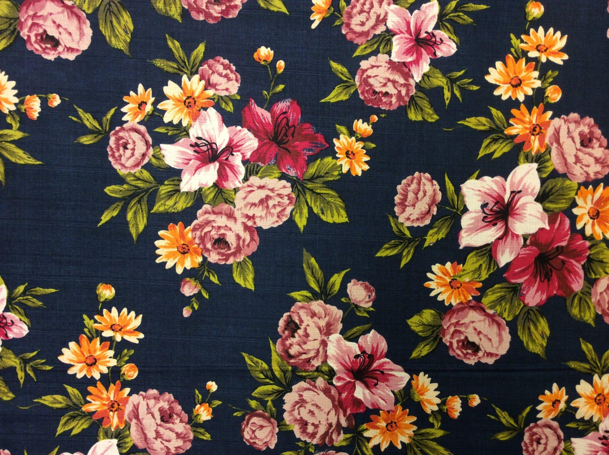 Ella Blue Australia Collection Retro Barkcloth Style Textured Floral Garden Print Cotton Fabric EB01