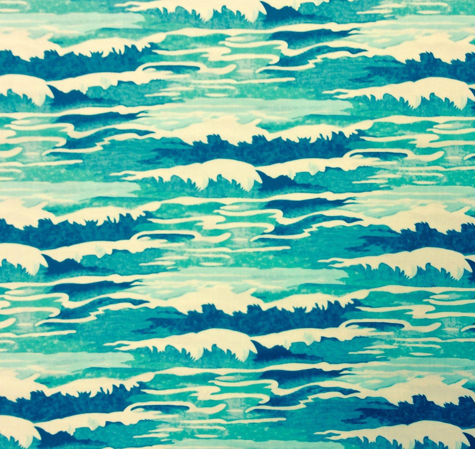 Tokyo Milk Neptune and the Mermaid Oceanus Wave Sea Ocean Japanese Asian Cotton Quilt Fabric  WE169
