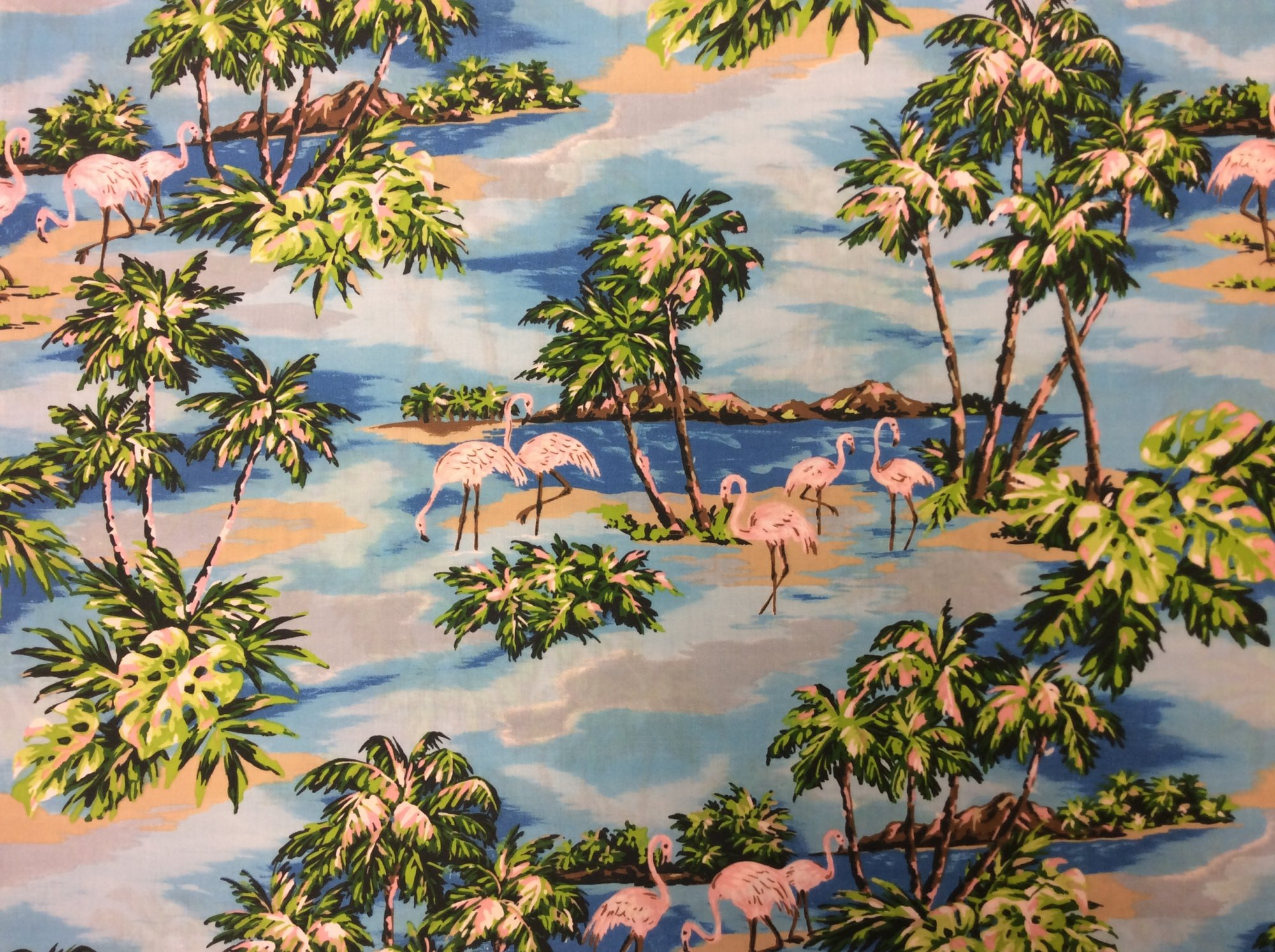 Flamingo Retro Waikiki Hawaiian Hula Luau Party Tropical Cotton Blend Apparel Fabric  TP031