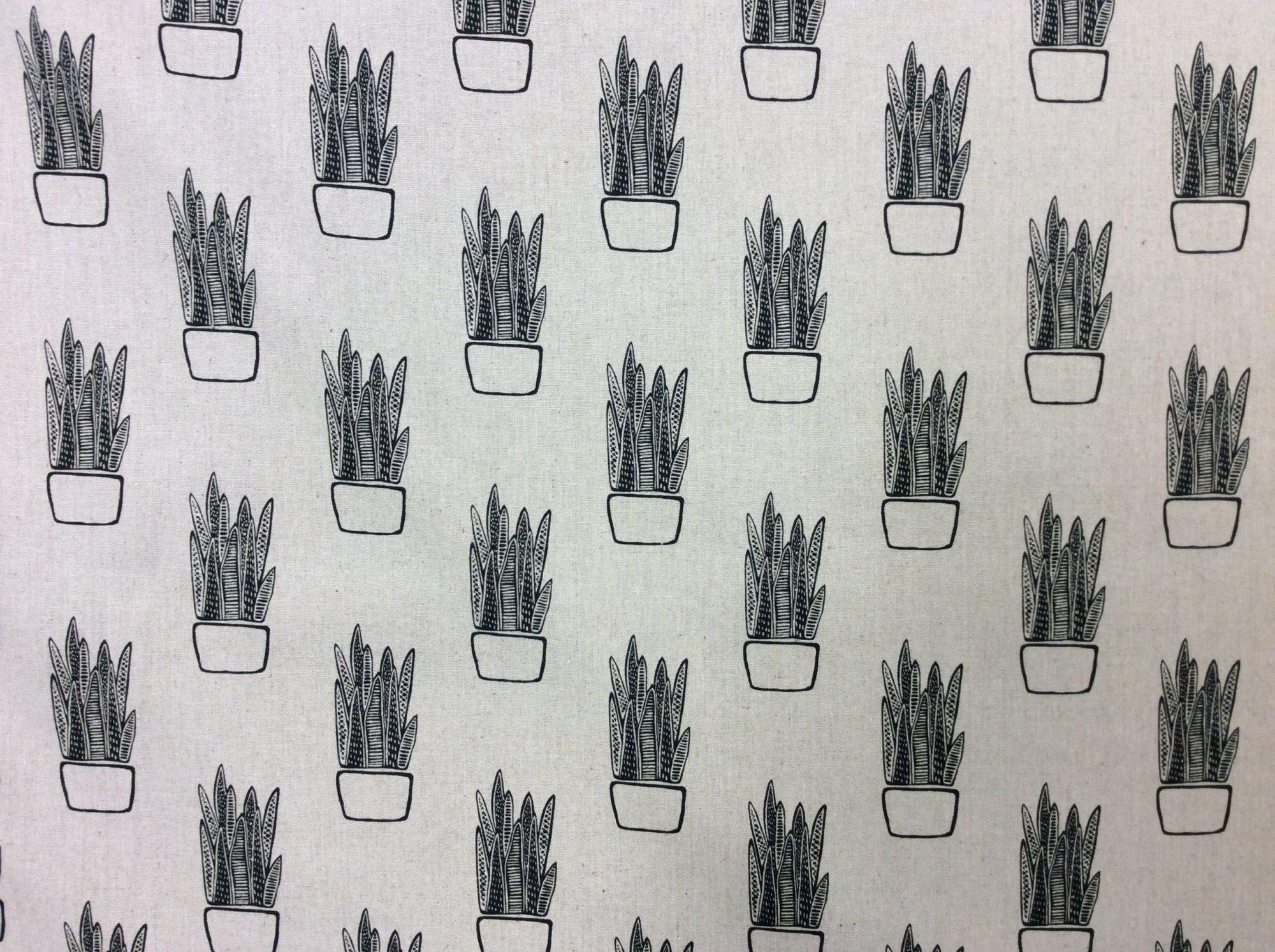 Succulents Cactus House Plant Retro Sketch Maker Maker Sarah Golden Tiger Plant Cotton Linen Blend AN76
