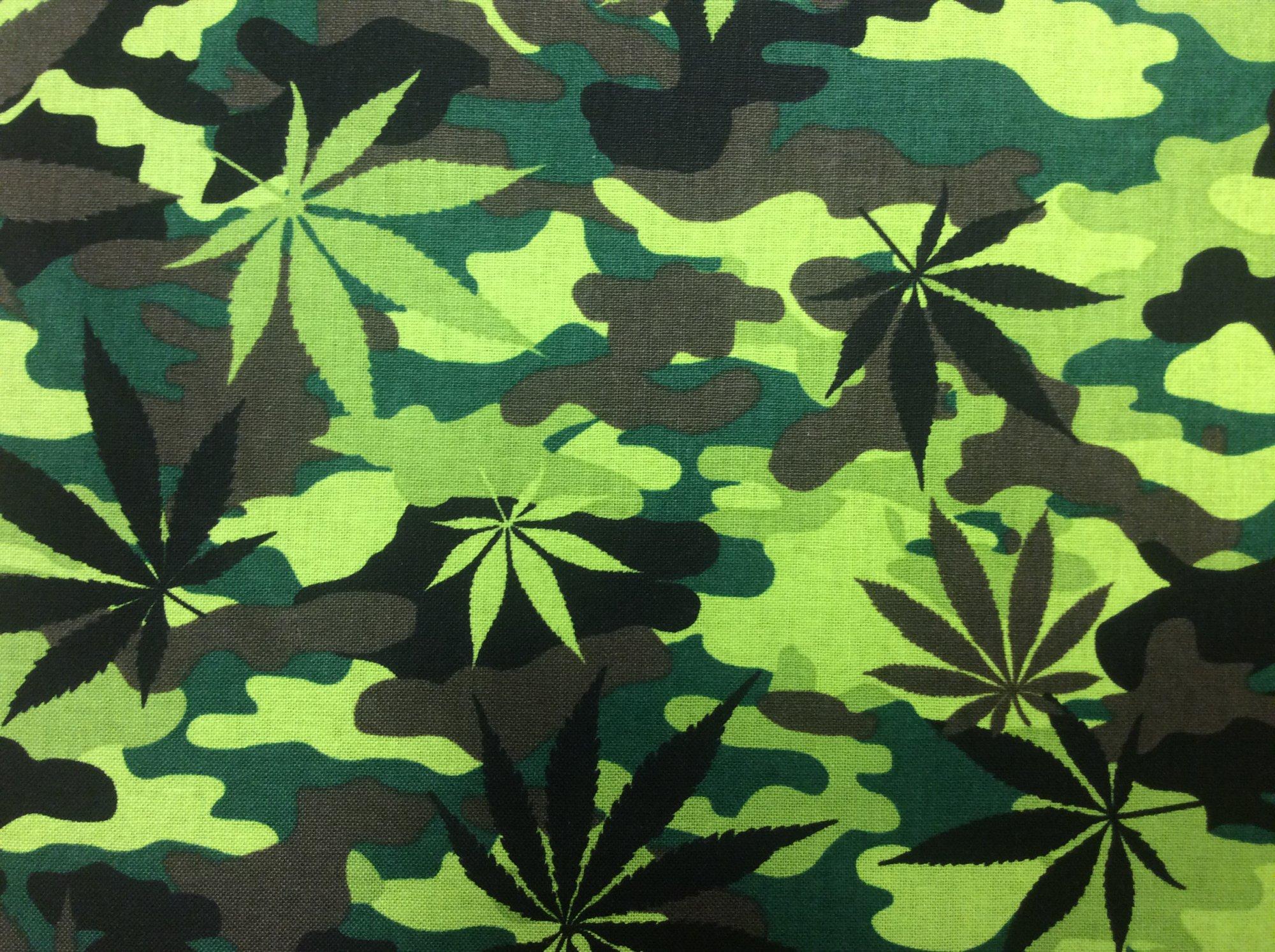 Marijuana Camo Pot Leaves Cotton Quilt Fabric TT117