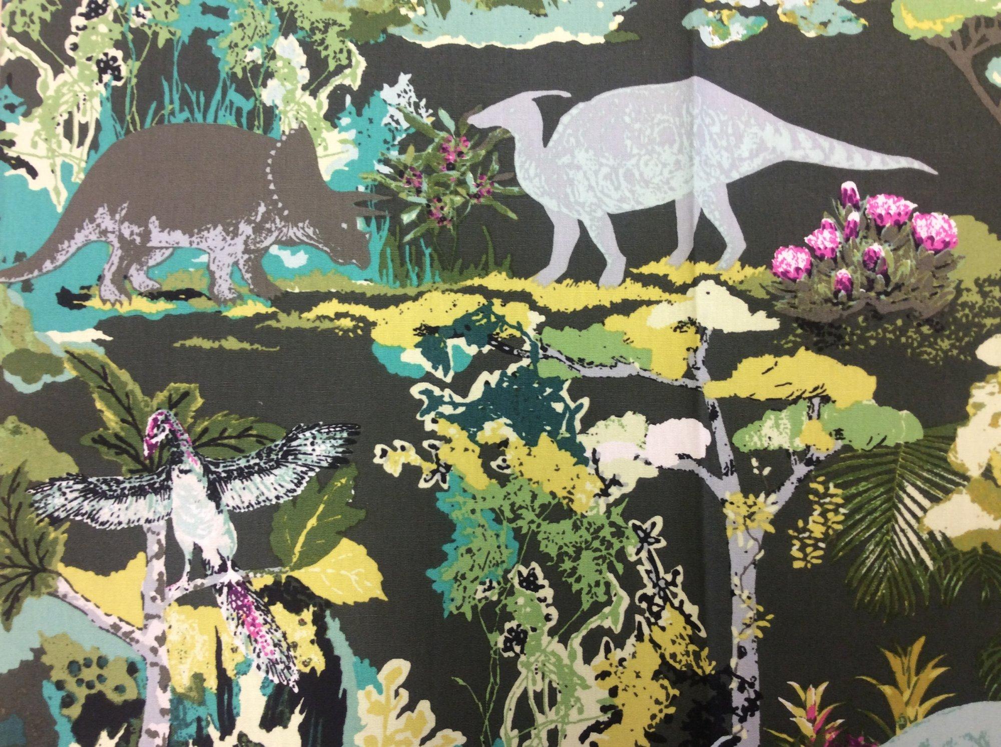 FAT QUARTER! Dinosaurs Jurassic Ancient History Floral Cotton Quilt Fabric RPFAR53