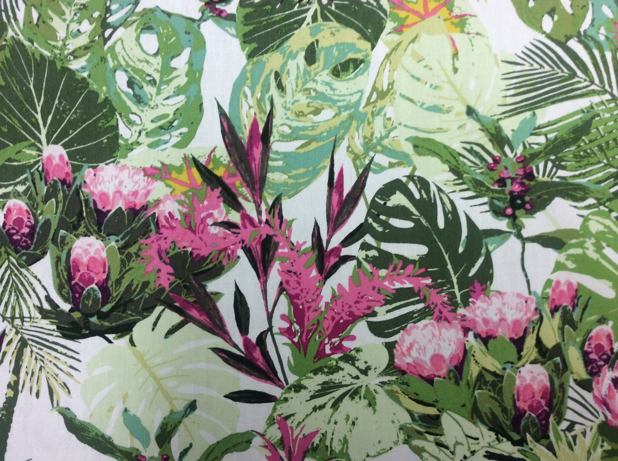Tropical Bird of Paradise Retro Banana Leaf Cotton Quilt Fabric AR52