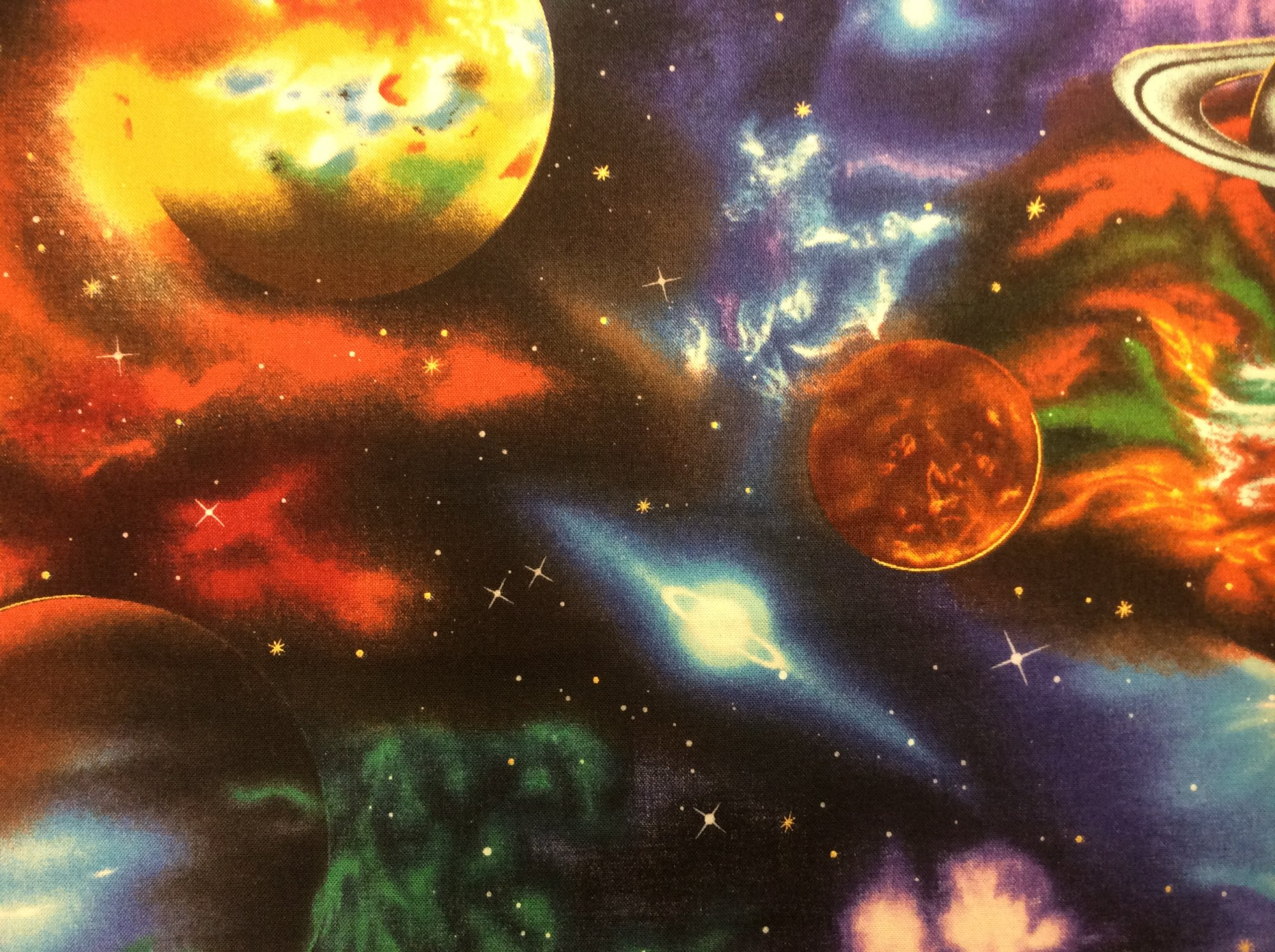 Space Galaxy Stars Planets Cotton Quilt Fabric RK180