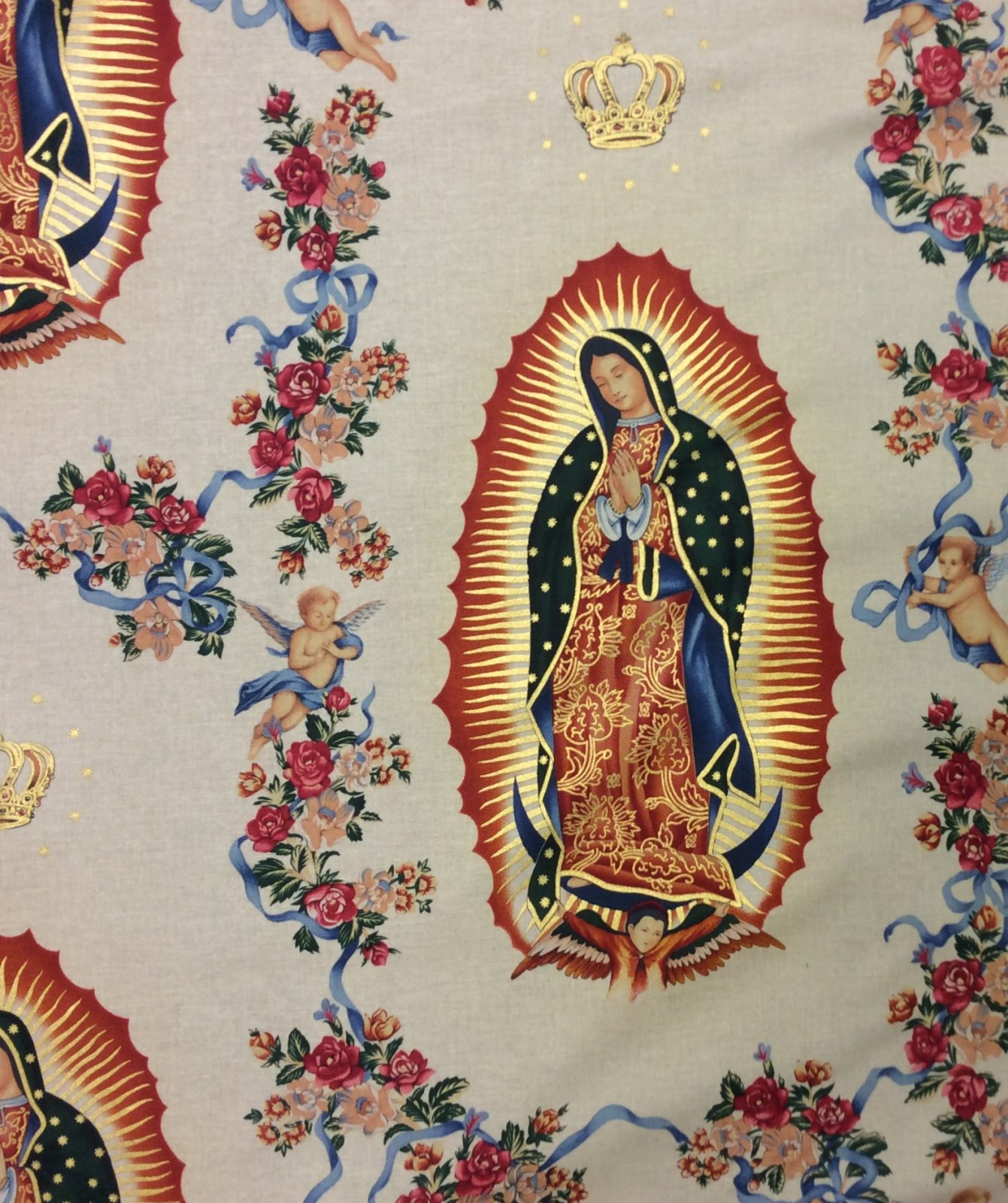 Our Lady of Guadalupe Virgin Mary Mexico Latin Saint 100% Cotton Quilt Fabric AH251
