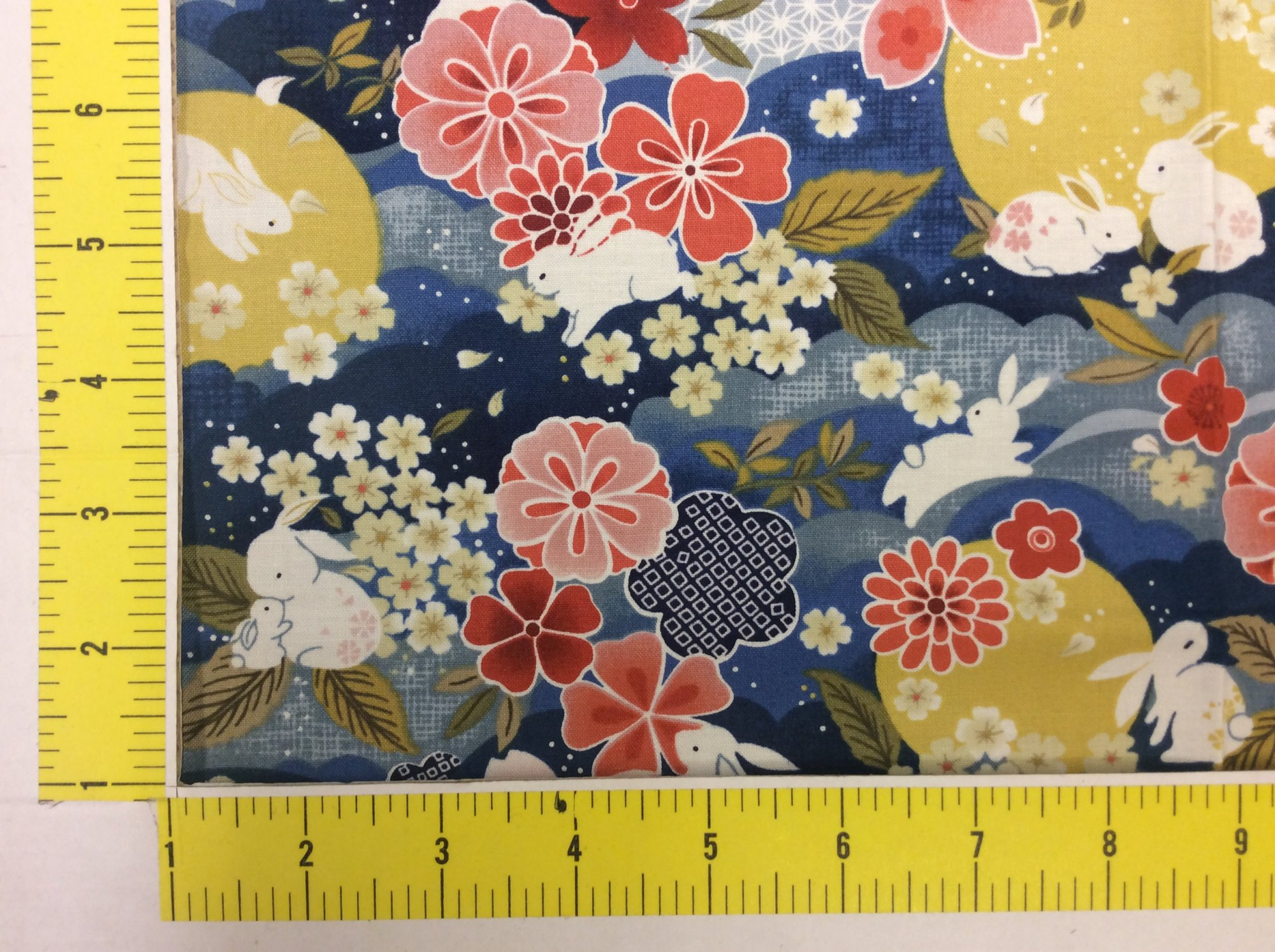 Moon Garden Bunny Rabbit Asian Japanese Style Cotton Quilt Fabric PA01