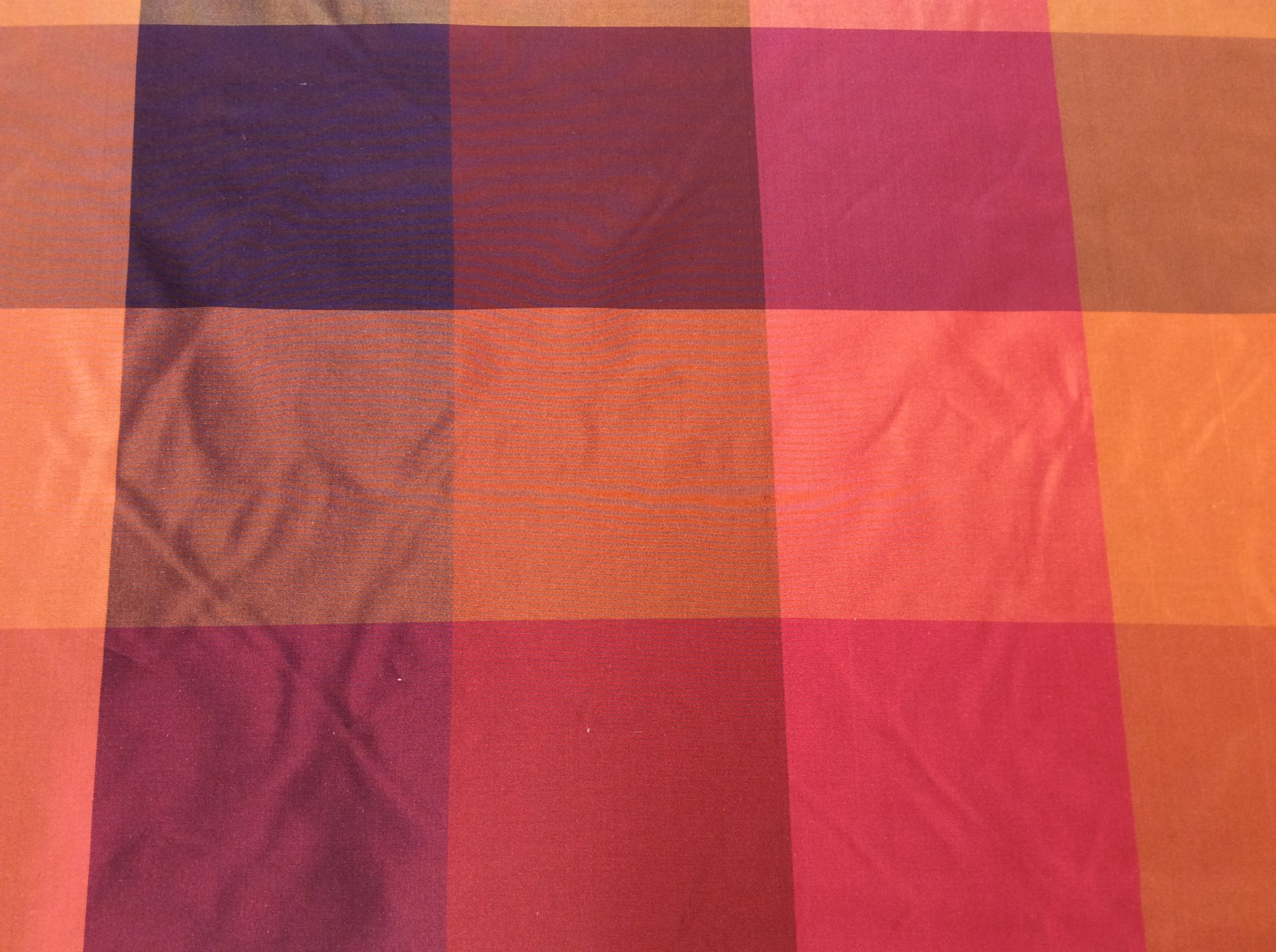 100% Silk Taffeta Autumn Tuscan Buffalo Check Plaid Drapery Apparel Fabric FM105