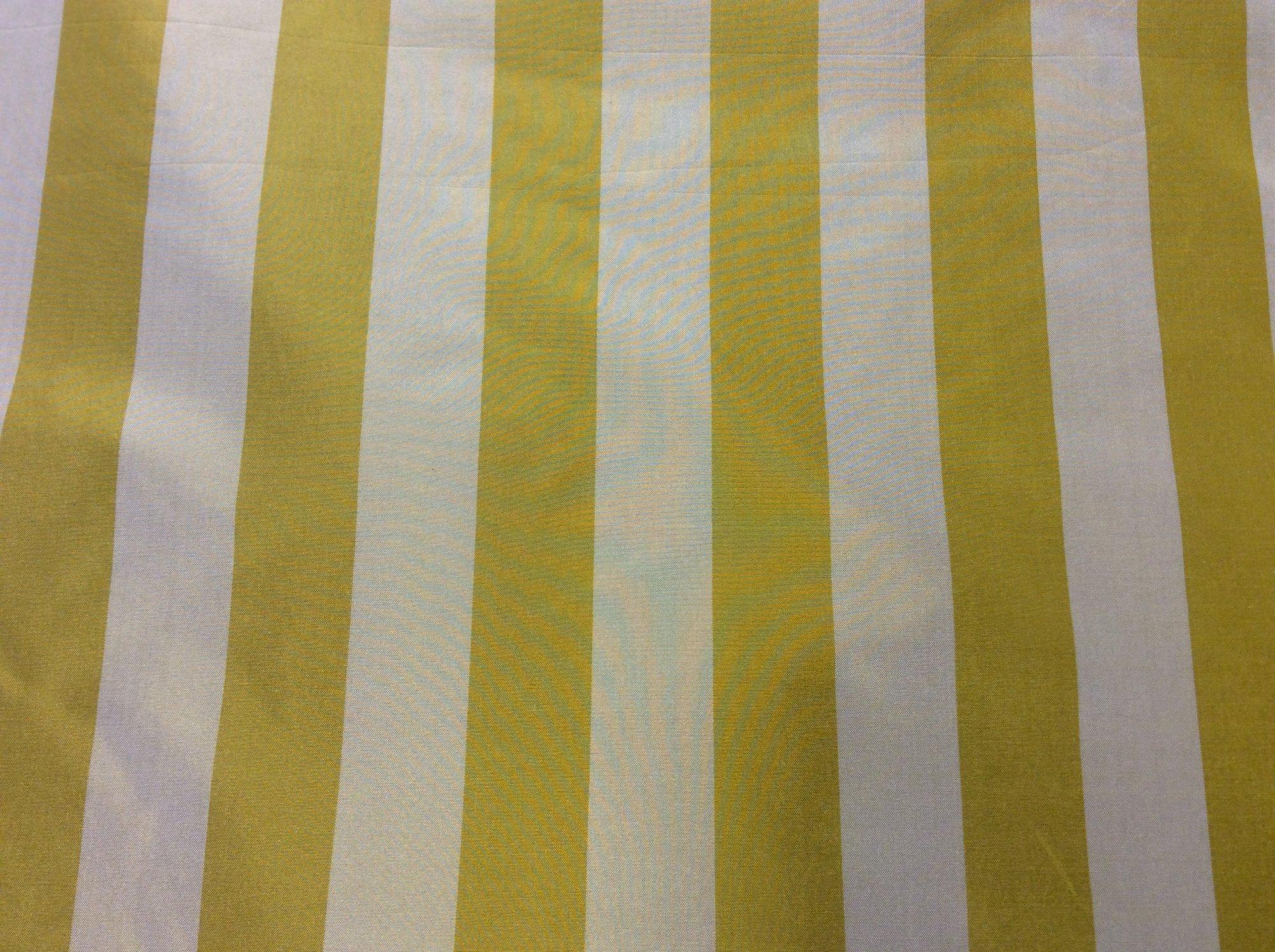 100% Silk Taffeta Yellow Gold Mustard Stripe. Drapery Apparel Fabric FM104