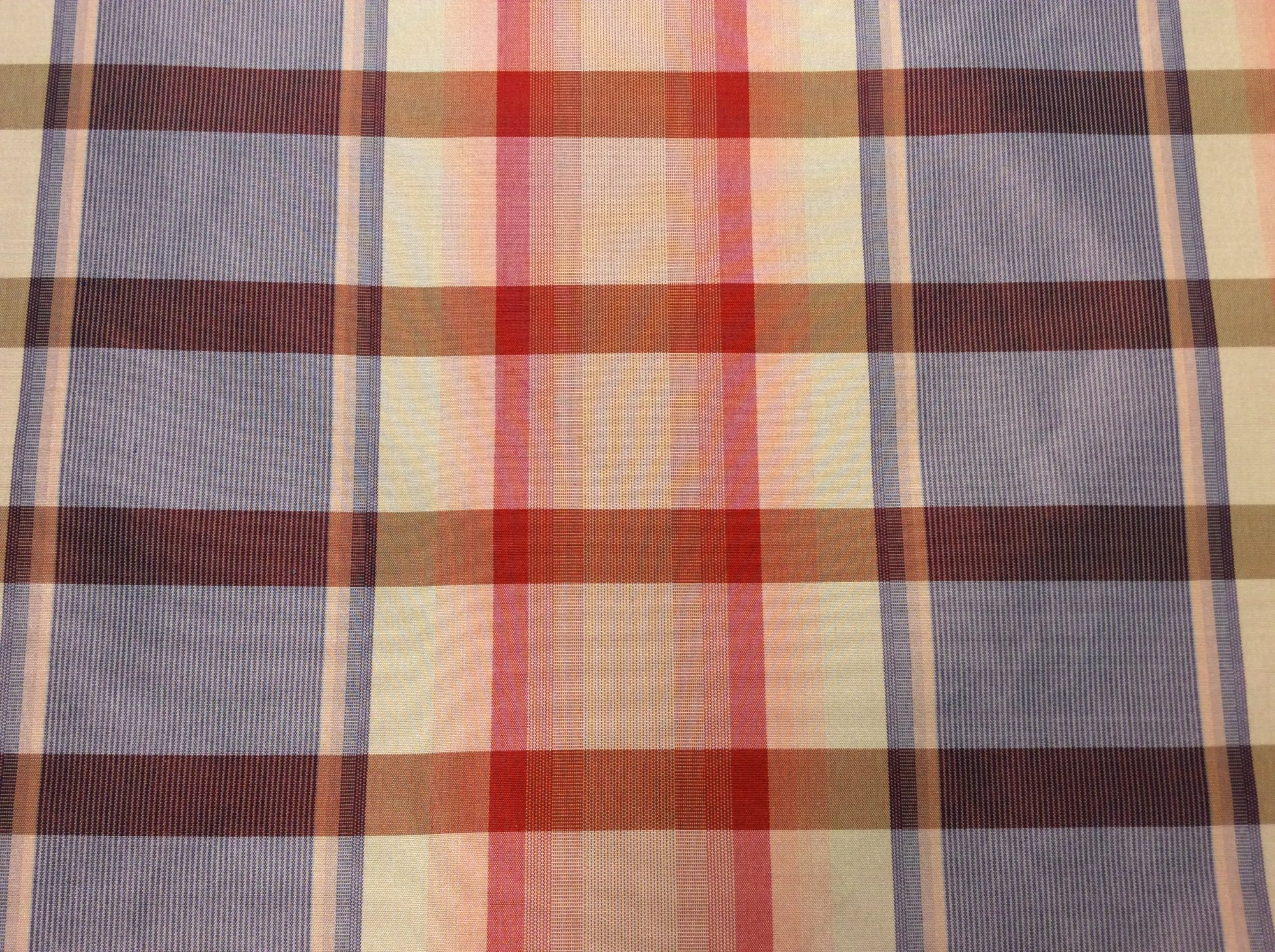 100% Silk Taffeta Fabric. Drapery Silk Plaid Pink/Blue. FM101
