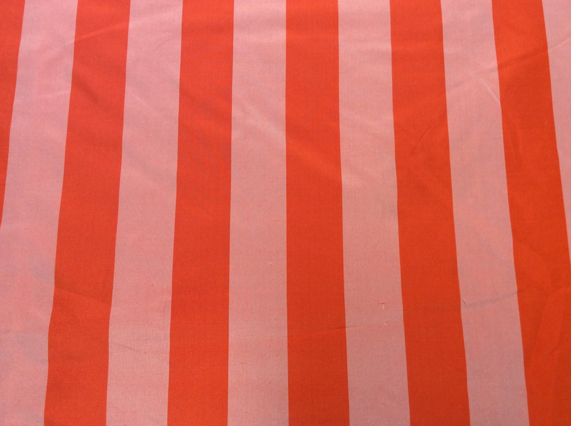 100% Silk Taffeta Coral Orange Stripe. Drapery Apparel Fabric. FM102