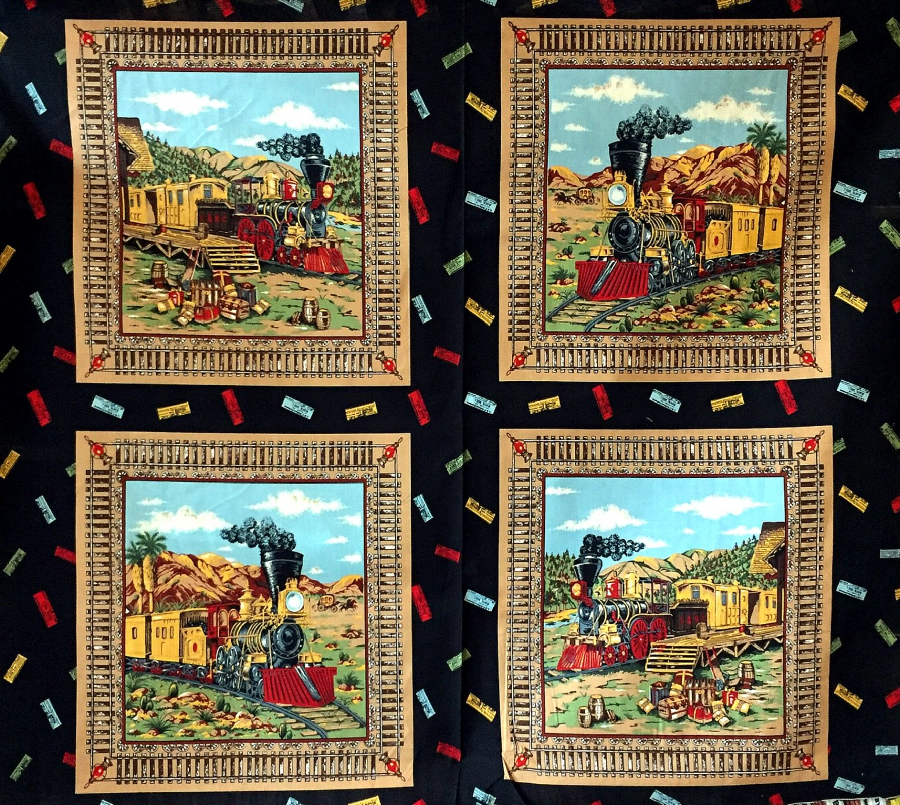 Railroad Trains Locomotive Four Block Pillow Panel Cotton Quilt Fabric PNL61